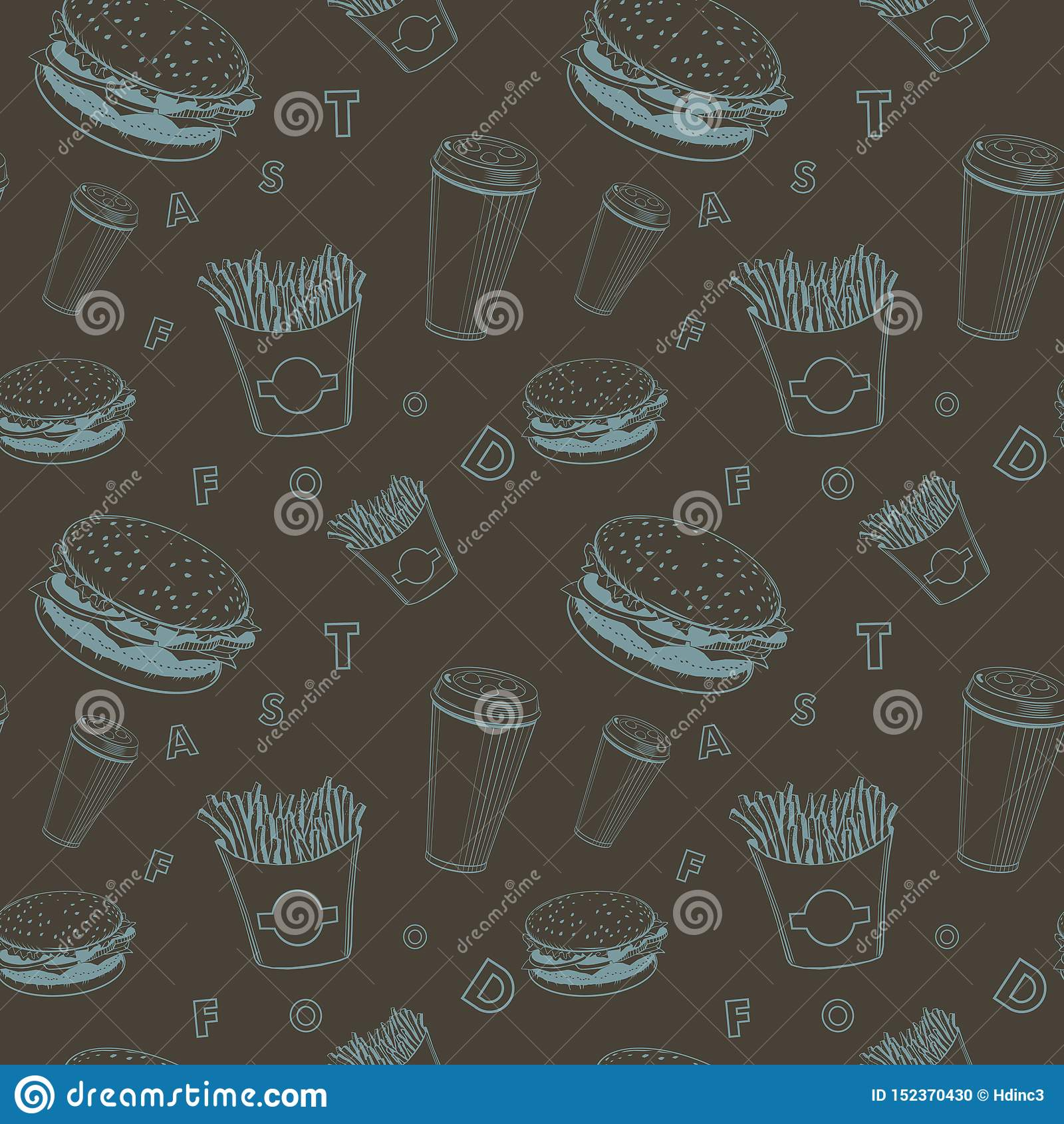 Вектор еды кафа установил черную и голубую картину вензеля фастфуда