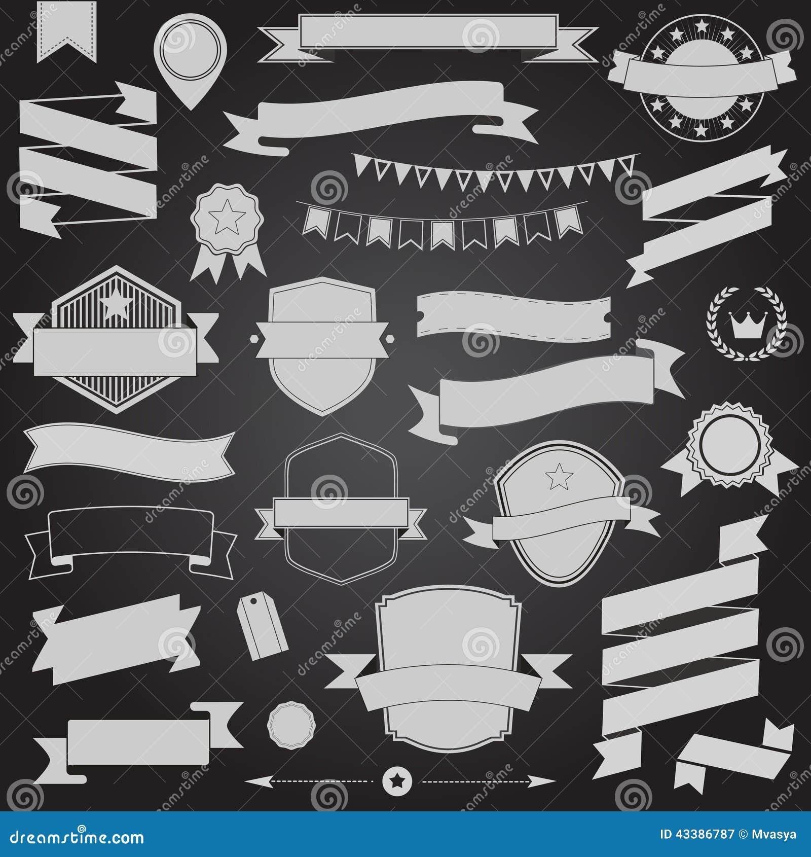 Вектор лент и значка дизайна большого комплекта ретро конструирует элементы
