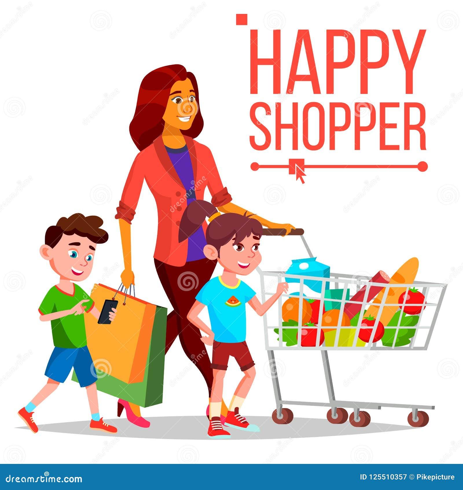 Вектор женщины покупок С детьми Покупать концепцию счастливый покупатель усмехаться девушки Держать бумажные пакеты радостно