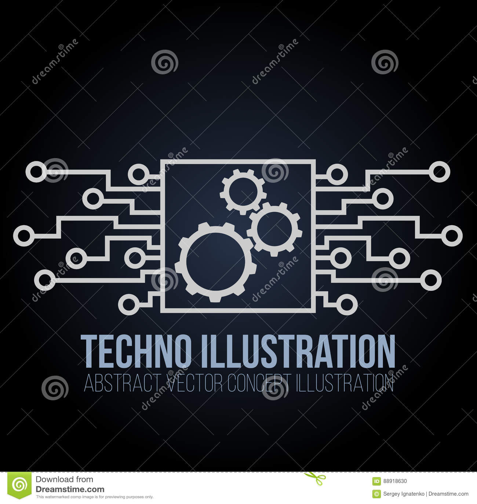 Вектор знамени монтажной платы на черной предпосылке Шестерни, инженерство и техник, материнская плата и компьютер конструируют