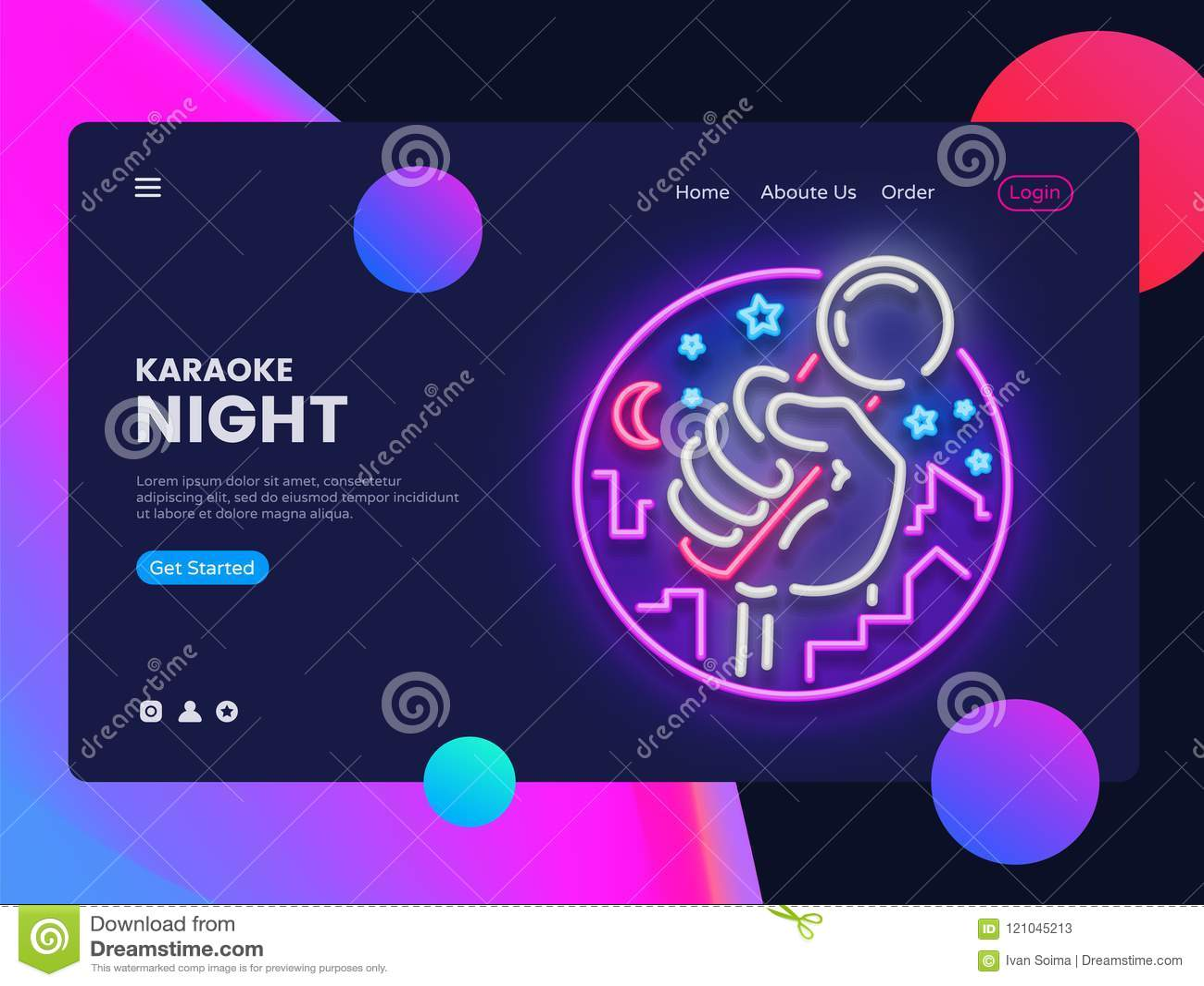 Вектор знамени сети караоке неоновый горизонтальный Интерфейс в современном дизайне тенденции, неон сети знамени рекламы живой му