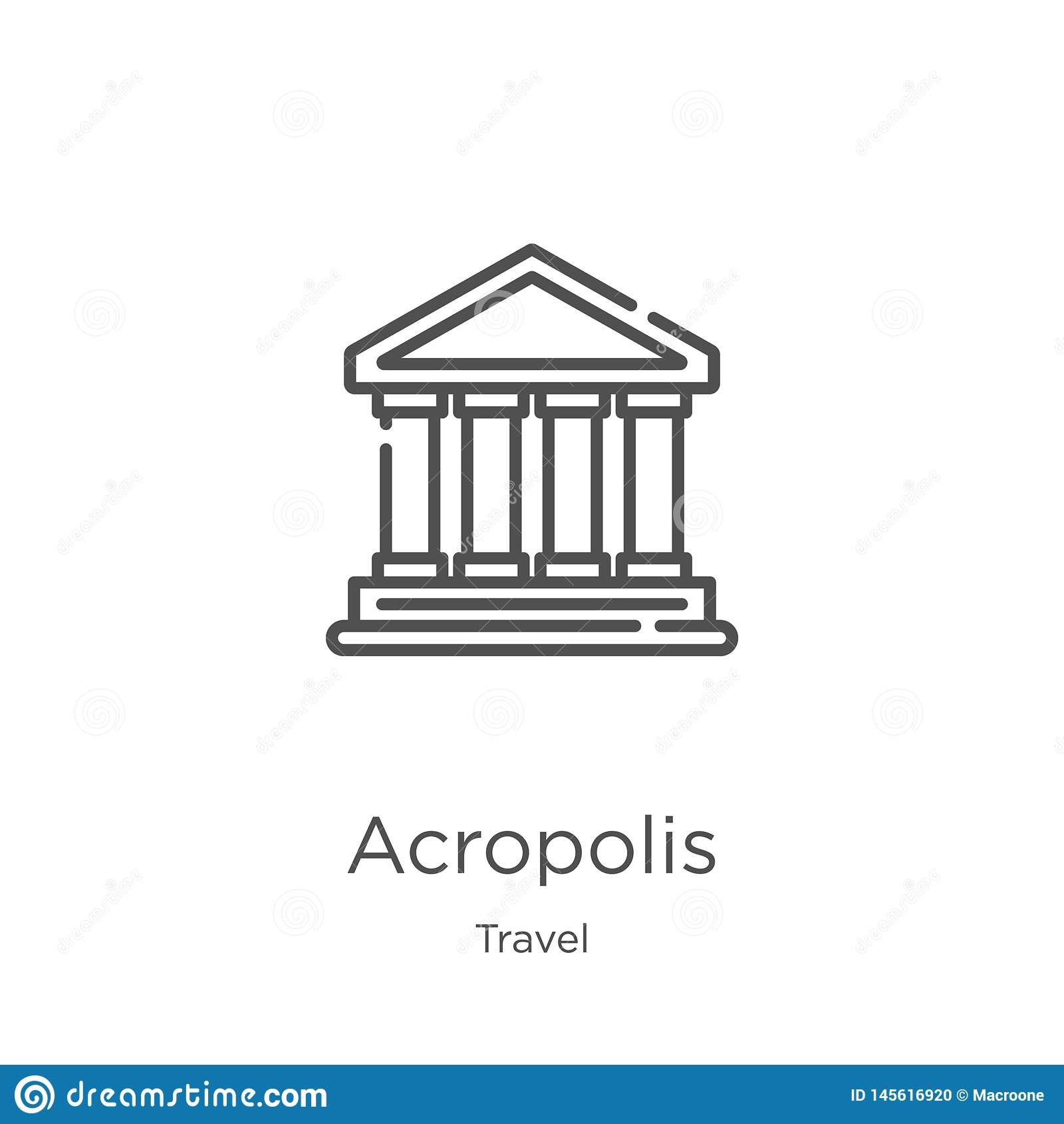 вектор значка акрополя от собрания перемещения Тонкая линия иллюстрация вектора значка плана акрополя План, тонкая линия акрополь