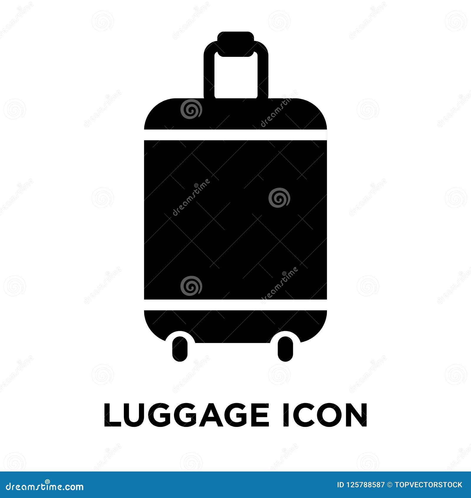Вектор значка багажа изолированный на белой предпосылке, концепции o логотипа