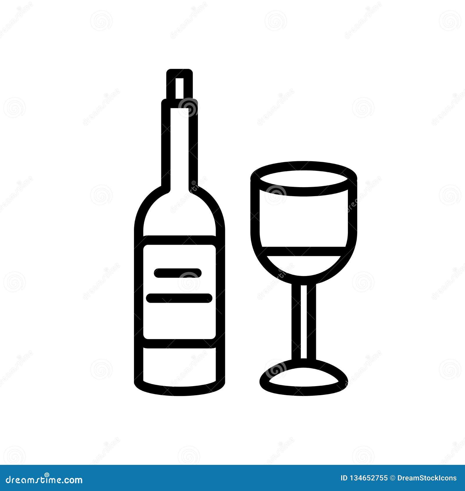 Вектор значка вина изолированный на белой предпосылке, знаке вина, линии или линейном знаке, дизайне элемента в стиле плана