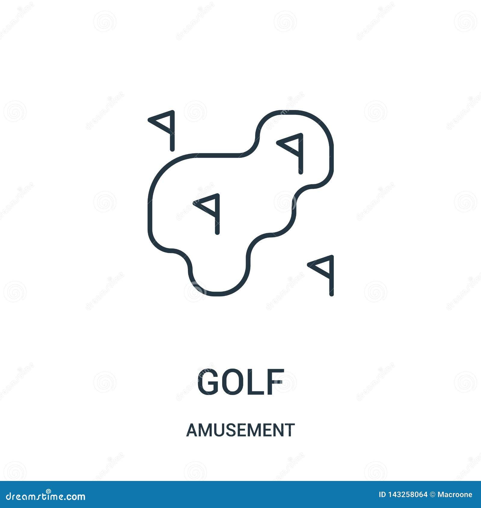 вектор значка гольфа от собрания занятности Тонкая линия иллюстрация вектора значка плана гольфа