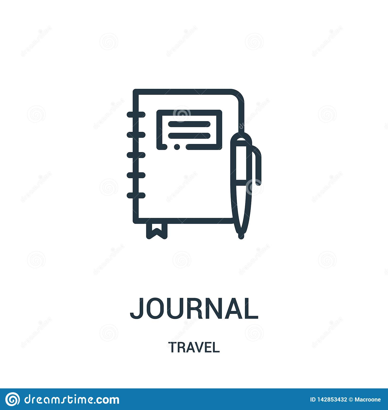 вектор значка журнала от собрания перемещения Тонкая линия иллюстрация вектора значка плана журнала Линейный символ для пользы на
