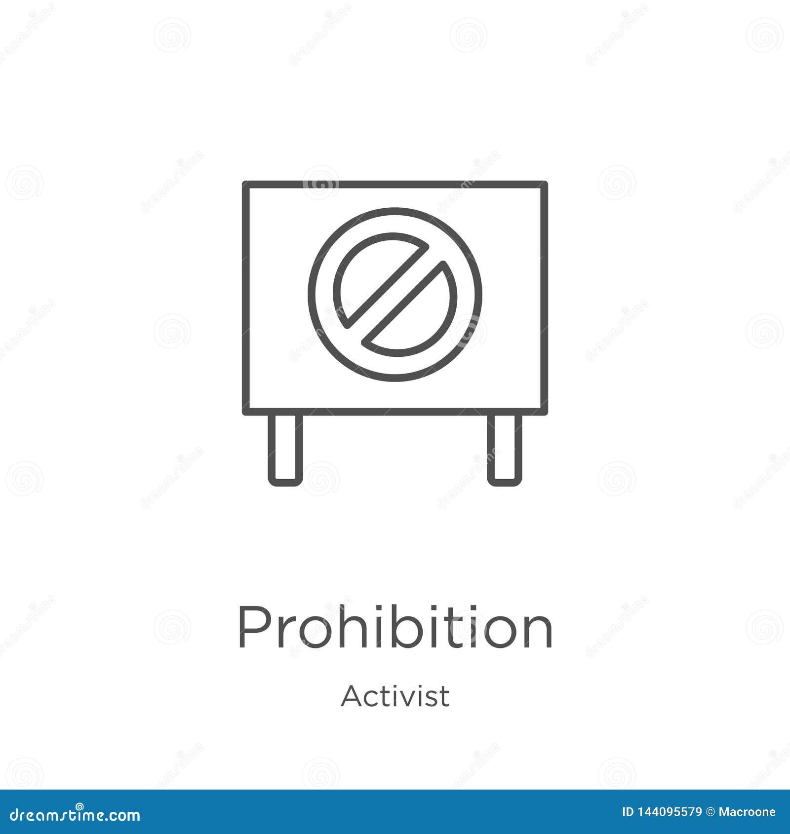 вектор значка запрета от собрания активиста Тонкая линия иллюстрация вектора значка плана запрета План, тонкая линия