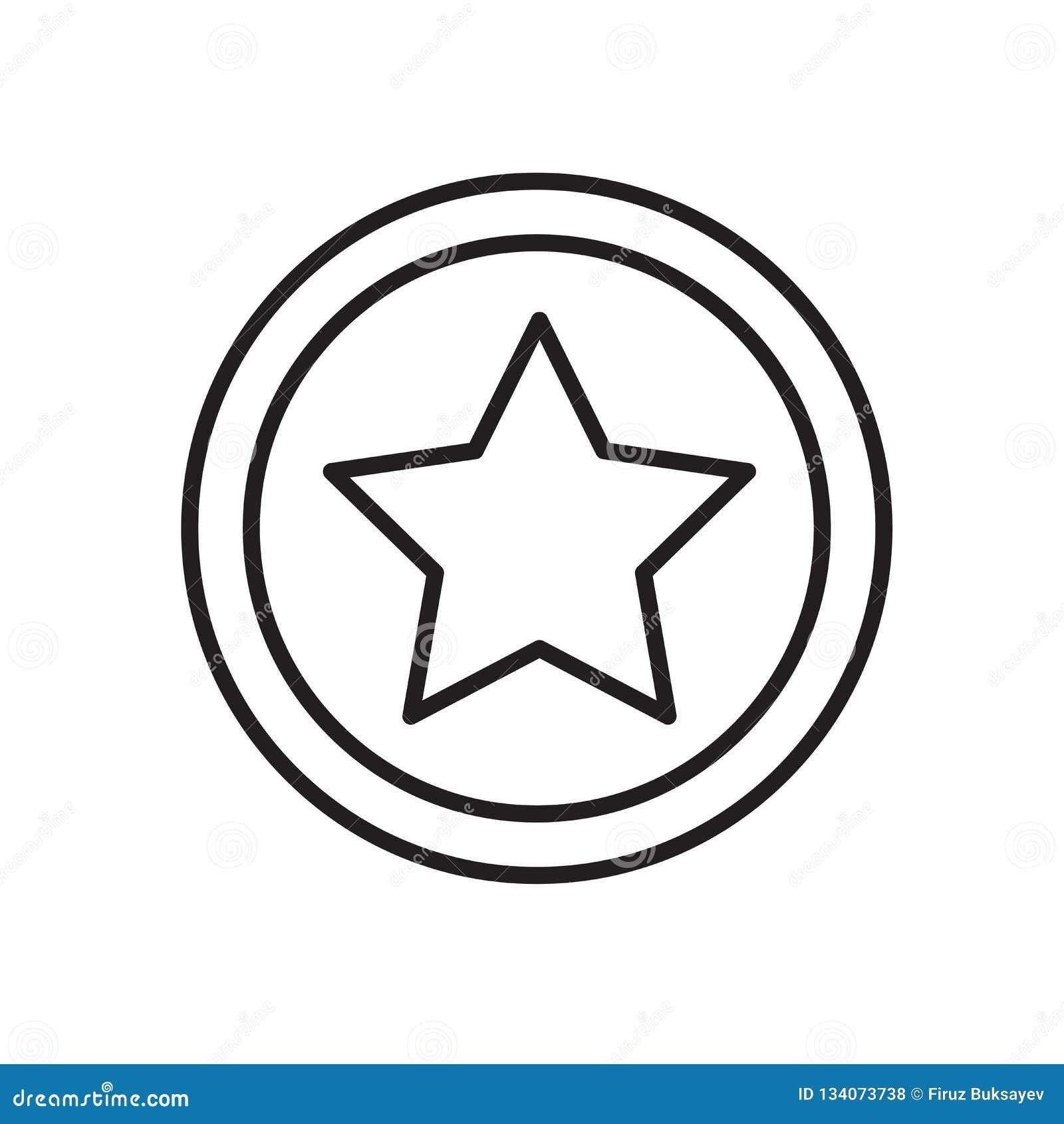 Вектор значка звезды изолированный на белых предпосылке, знаке звезды, знаке и символах в тонком линейном стиле плана