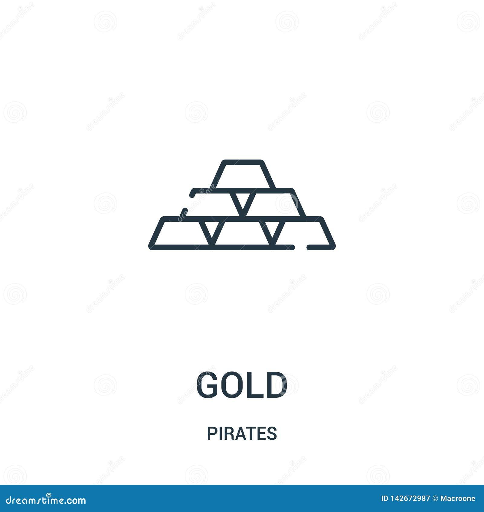 вектор значка золота от собрания пиратов Тонкая линия иллюстрация вектора значка плана золота Линейный символ для пользы на сети