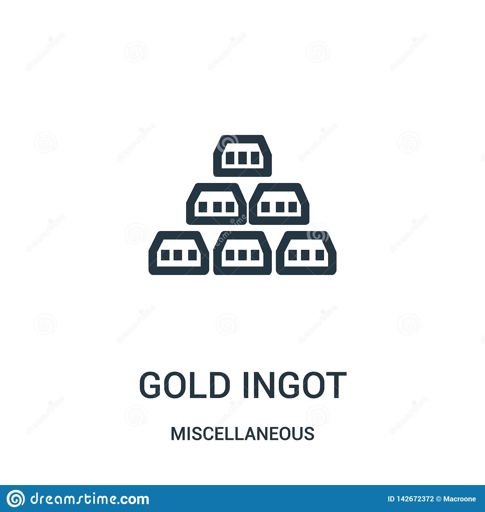 вектор значка золотого ингота от разностороннего собрания Тонкая линия иллюстрация вектора значка плана золотого ингота Линейный