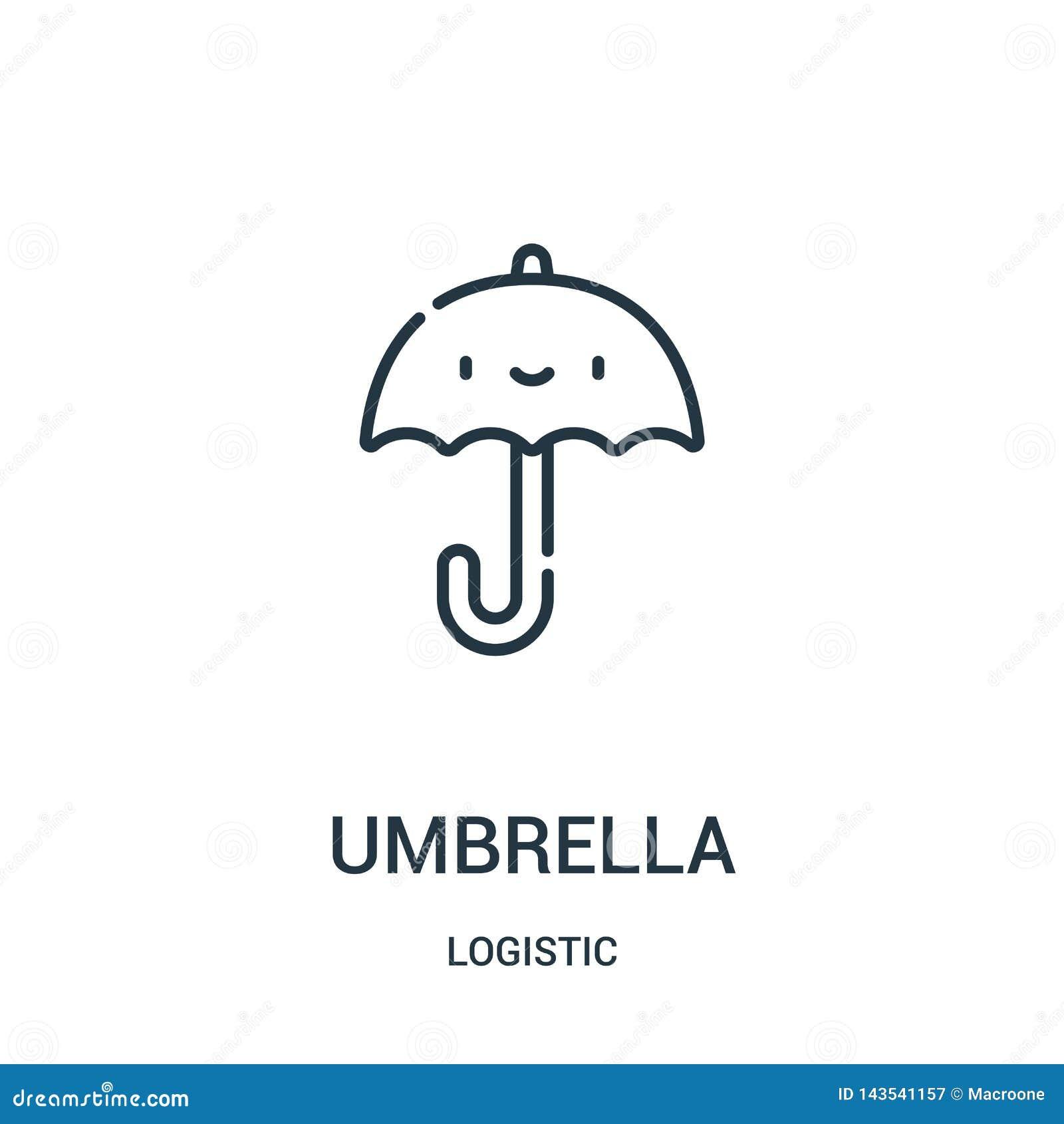 вектор значка зонтика от логистического собрания Тонкая линия иллюстрация вектора значка плана зонтика