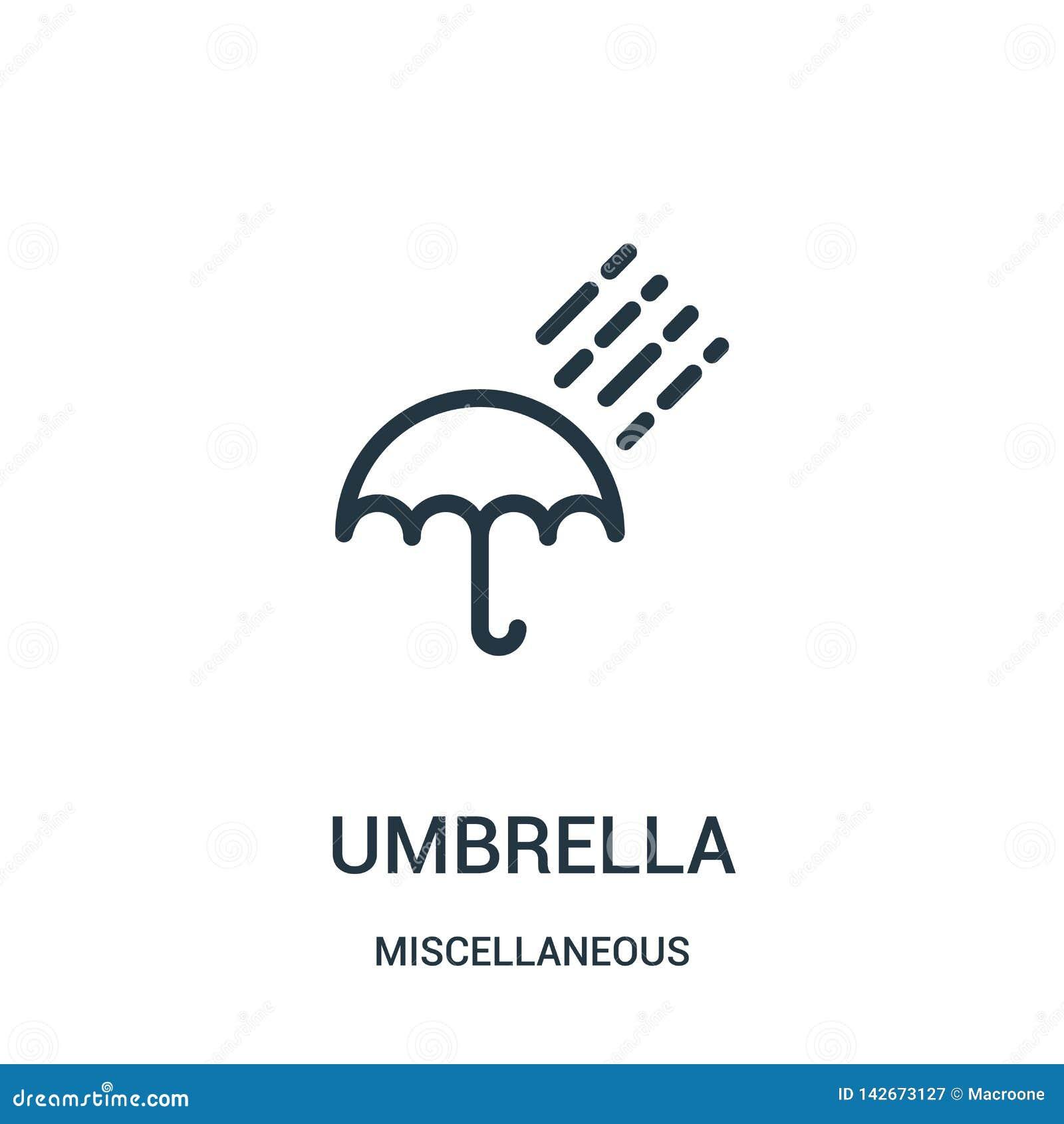 вектор значка зонтика от разностороннего собрания Тонкая линия иллюстрация вектора значка плана зонтика Линейный символ для польз