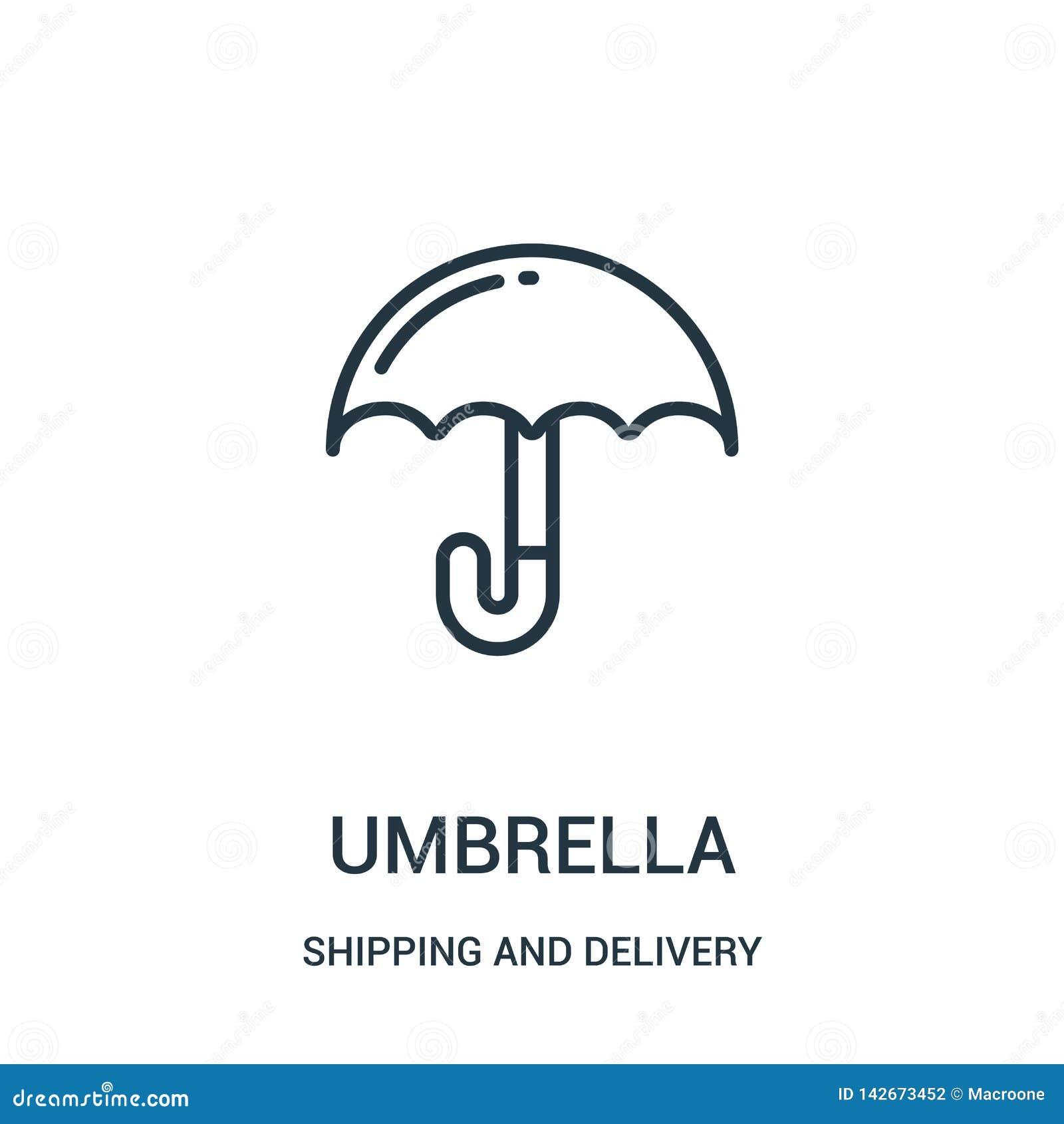вектор значка зонтика от собрания доставки и доставки Тонкая линия иллюстрация вектора значка плана зонтика Линейный символ для