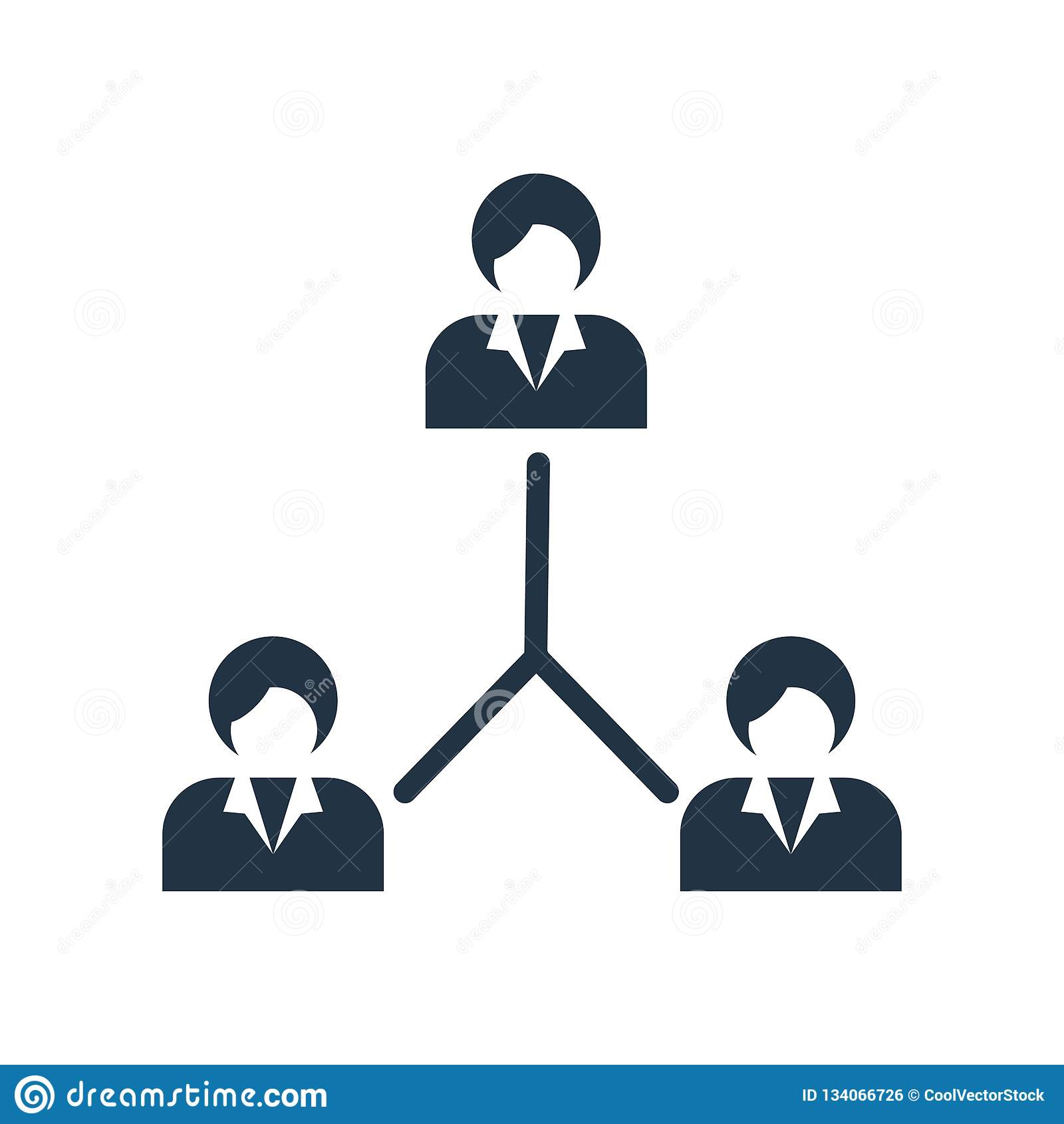 Вектор значка иерархическаяа структура изолированный на белой предпосылке, знаке иерархическаяа структура