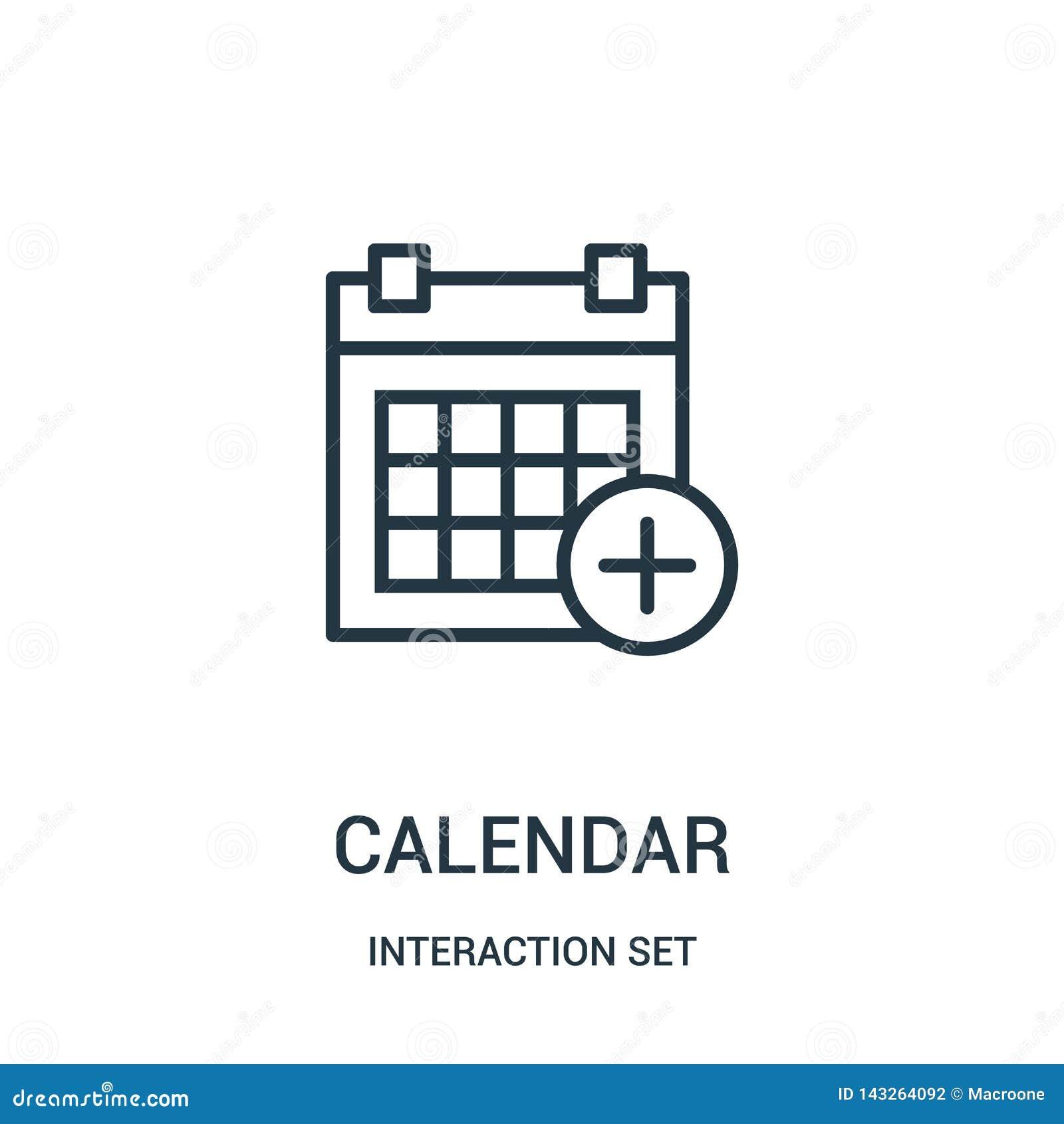 вектор значка календаря от собрания набора взаимодействия Тонкая линия иллюстрация вектора значка плана календаря