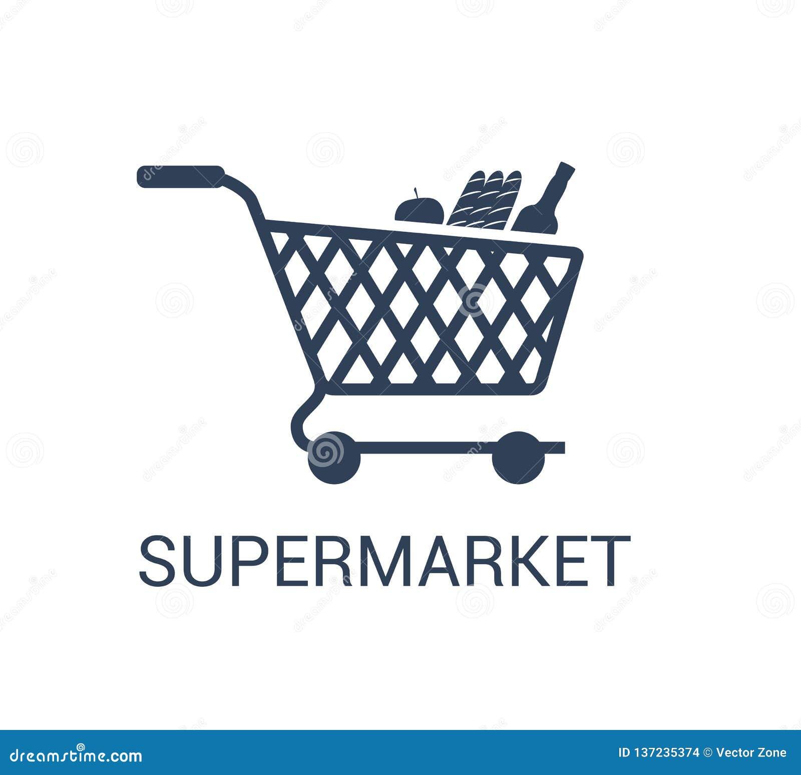 Вектор значка корзины супермаркета в ультрамодном стиле дизайна изолированном на белой предпосылке