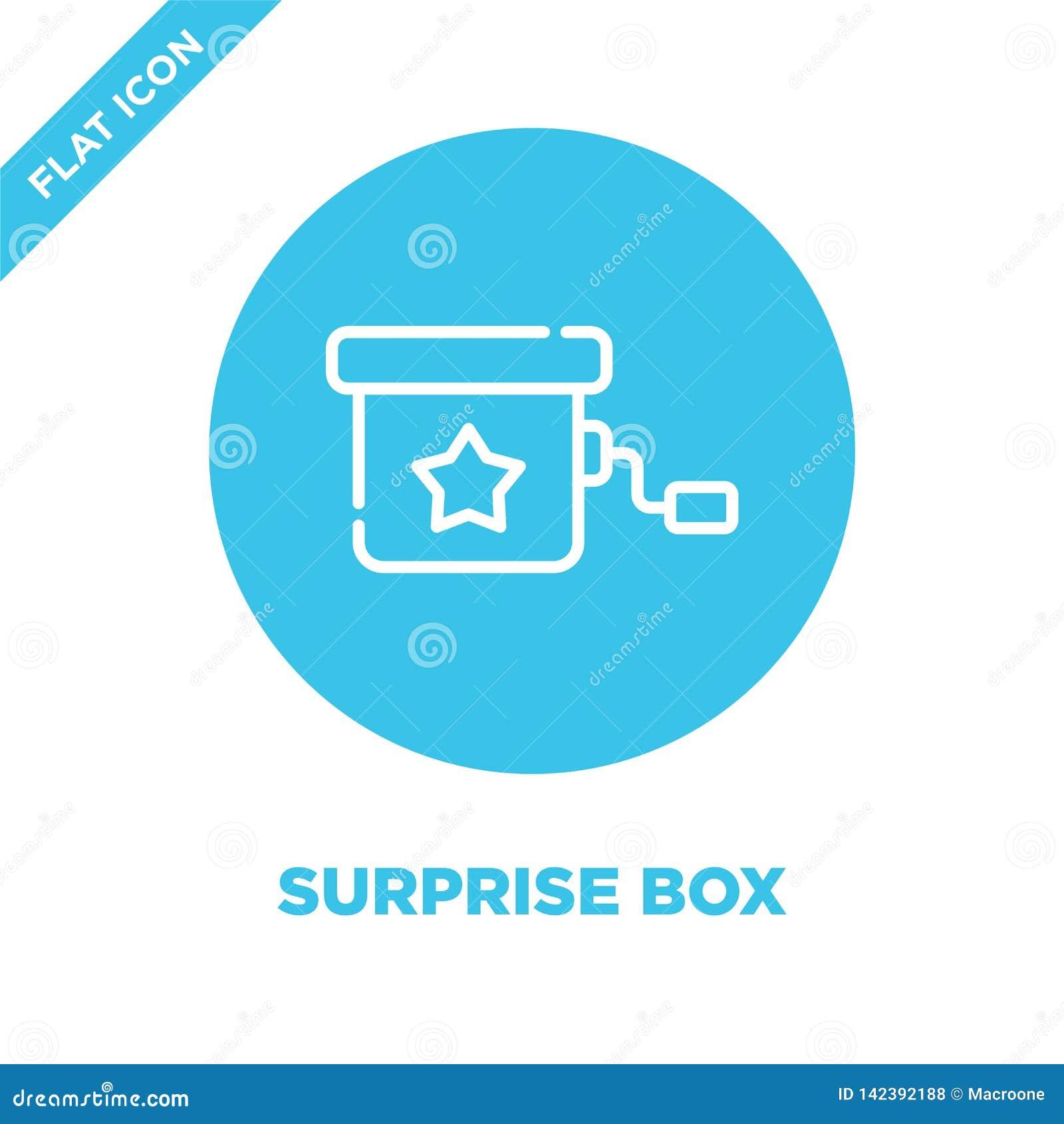 вектор значка коробки сюрприза от собрания игрушек младенца Тонкая линия иллюстрация вектора значка плана коробки сюрприза Линейн