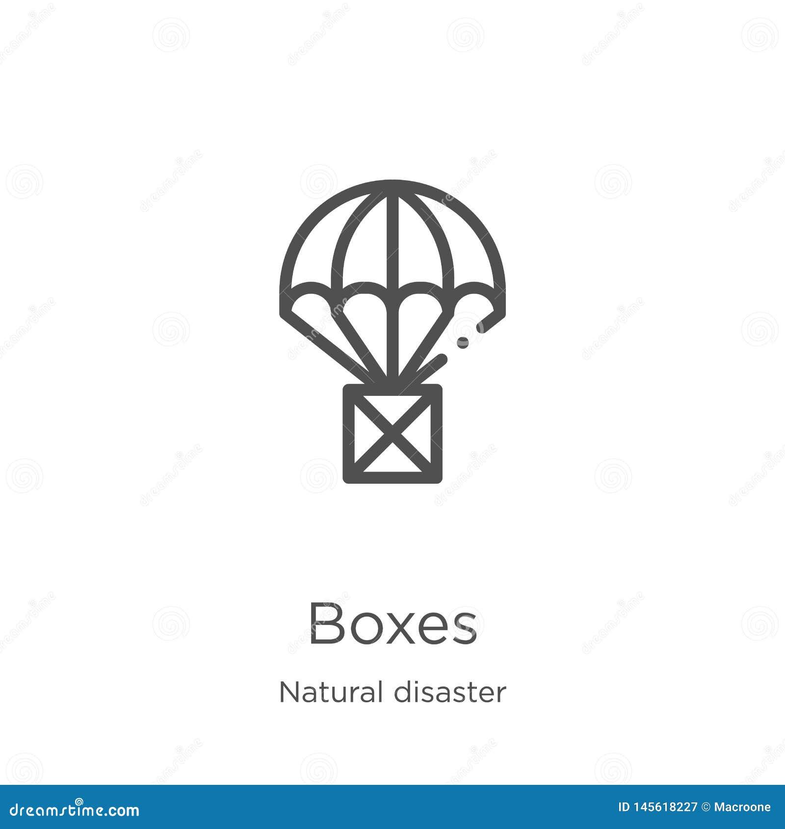 вектор значка коробок от собрания стихийного бедствия Тонкая линия иллюстрация вектора значка плана коробок План, тонкая линия ко
