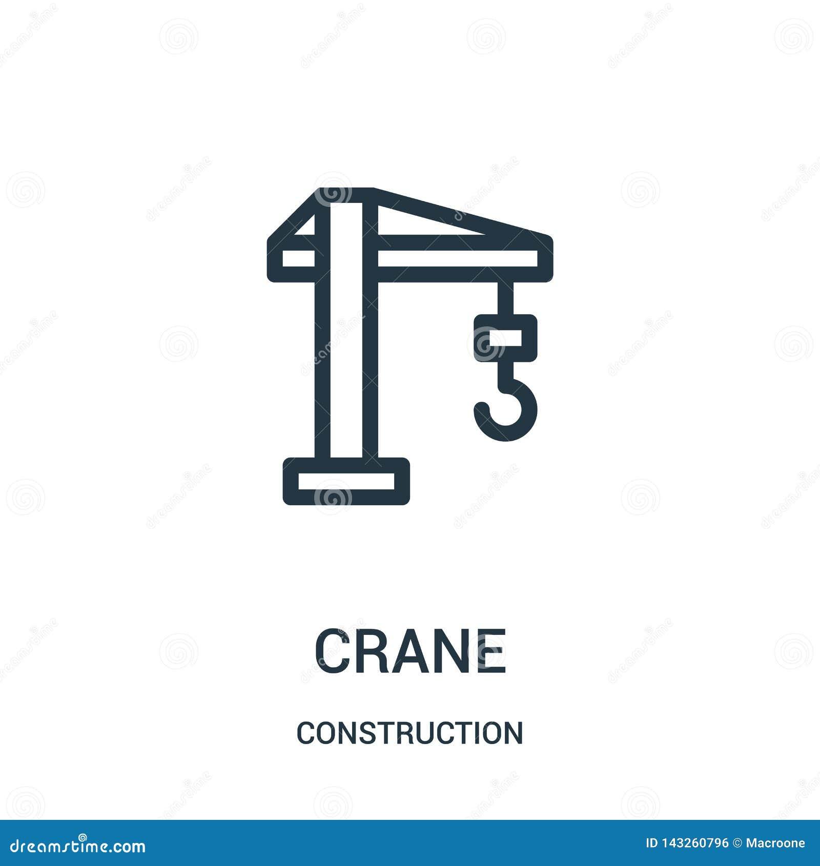 вектор значка крана от собрания конструкции Тонкая линия иллюстрация вектора значка плана крана