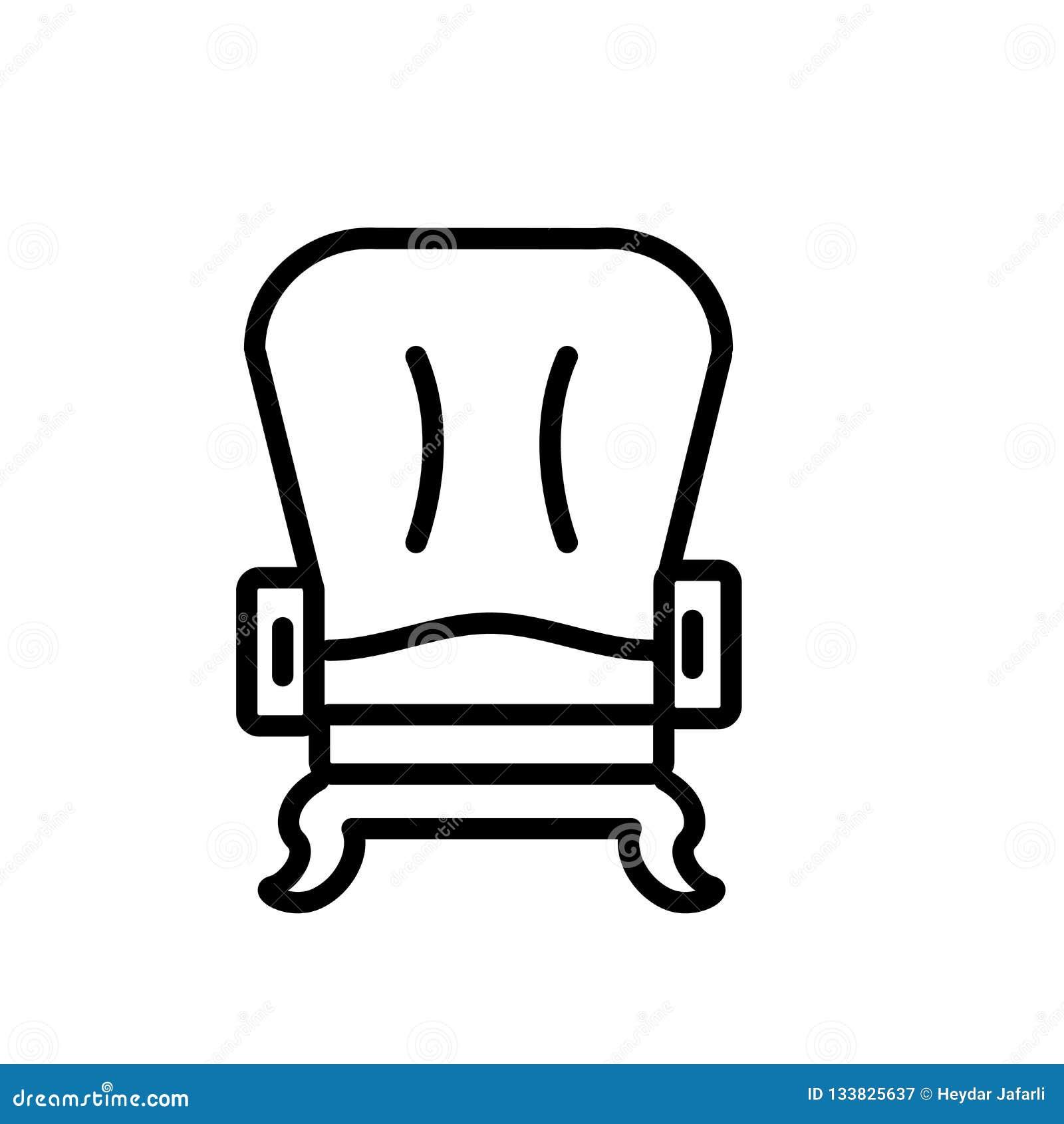Вектор значка кресла изолированный на белой предпосылке, знаке кресла