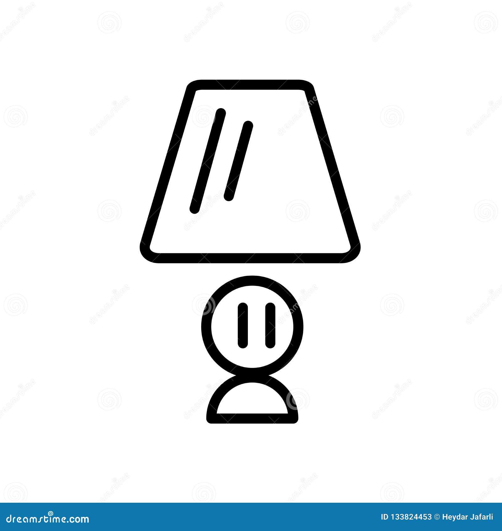 Вектор значка лампы стола изолированный на белой предпосылке, лампе стола si