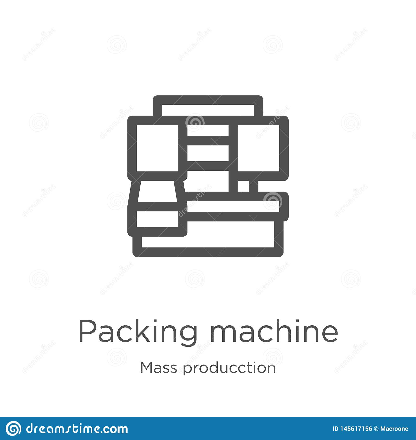 вектор значка машины упаковки от массового собрания producction Тонкая линия иллюстрация вектора значка плана машины упаковки Пла