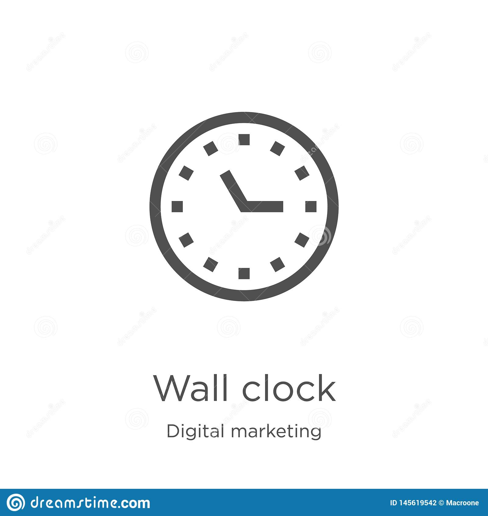 вектор значка настенных часов от цифрового выходя на рынок собрания Тонкая линия иллюстрация вектора значка плана настенных часов