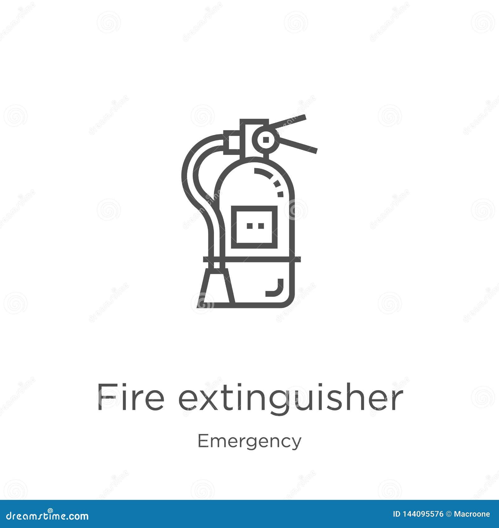 вектор значка огнетушителя от аварийного собрания Тонкая линия иллюстрация вектора значка плана огнетушителя r