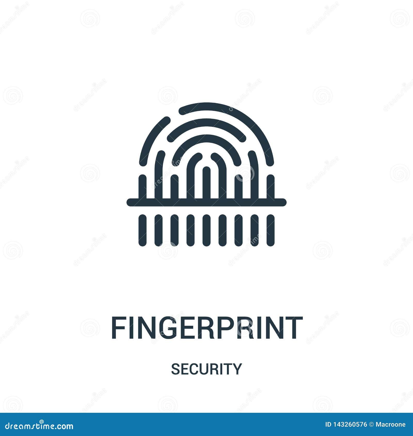 вектор значка отпечатка пальцев от собрания безопасностью Тонкая линия иллюстрация вектора значка плана отпечатка пальцев