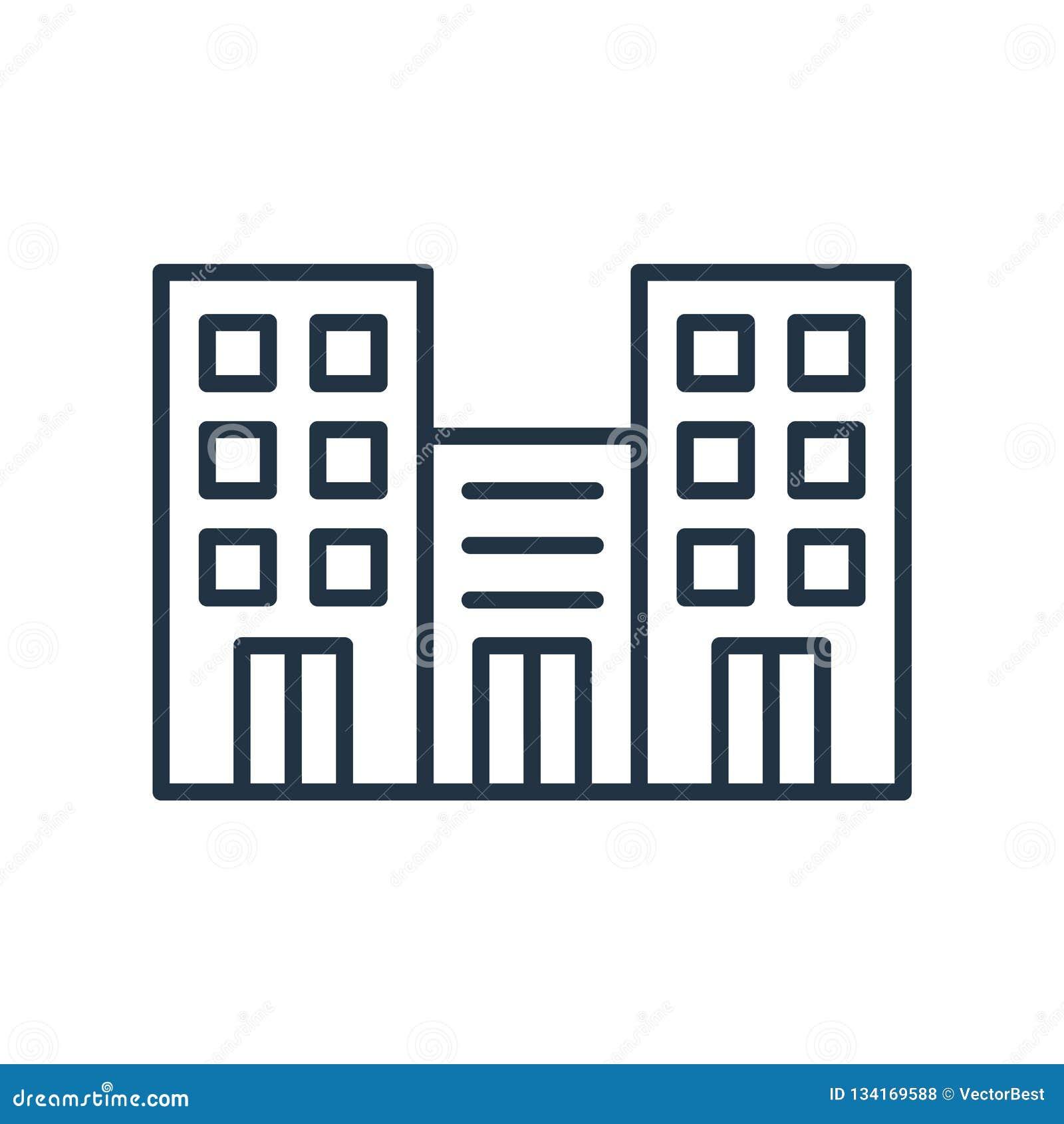 Вектор значка офисного здания изолированный на белой предпосылке, знаке офисного здания