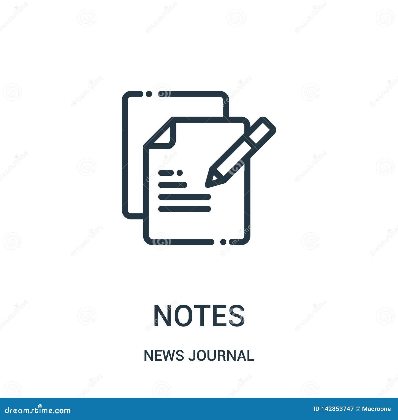 вектор значка примечаний от собрания журнала новостей Тонкая линия замечает иллюстрацию вектора значка плана Линейный символ для