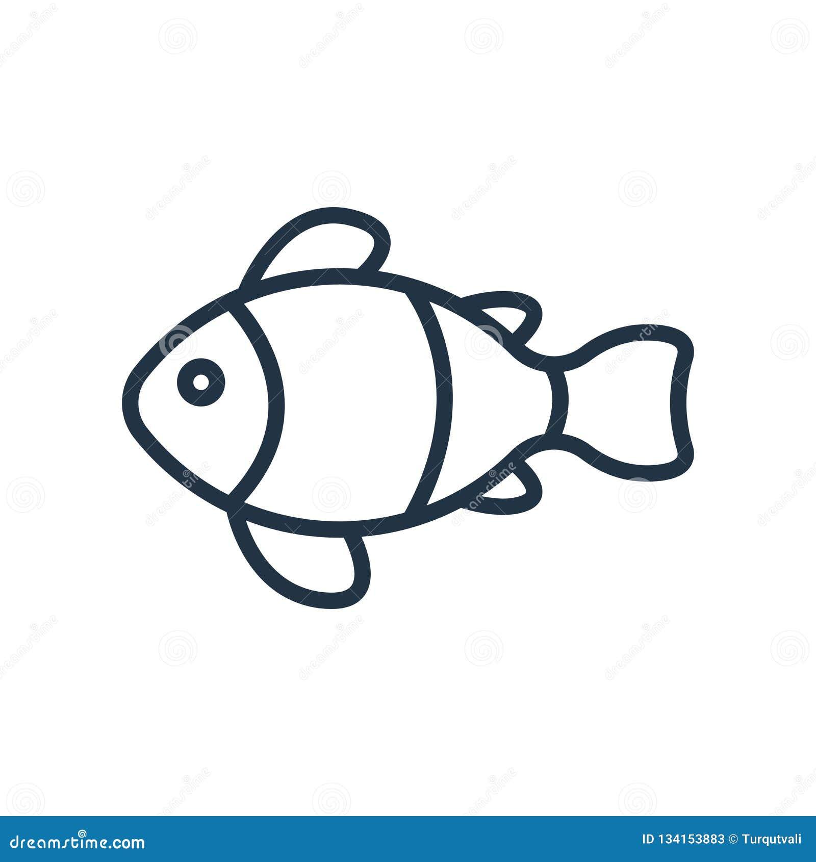 Вектор значка рыб клоуна изолированный на белой предпосылке, знаке рыб клоуна