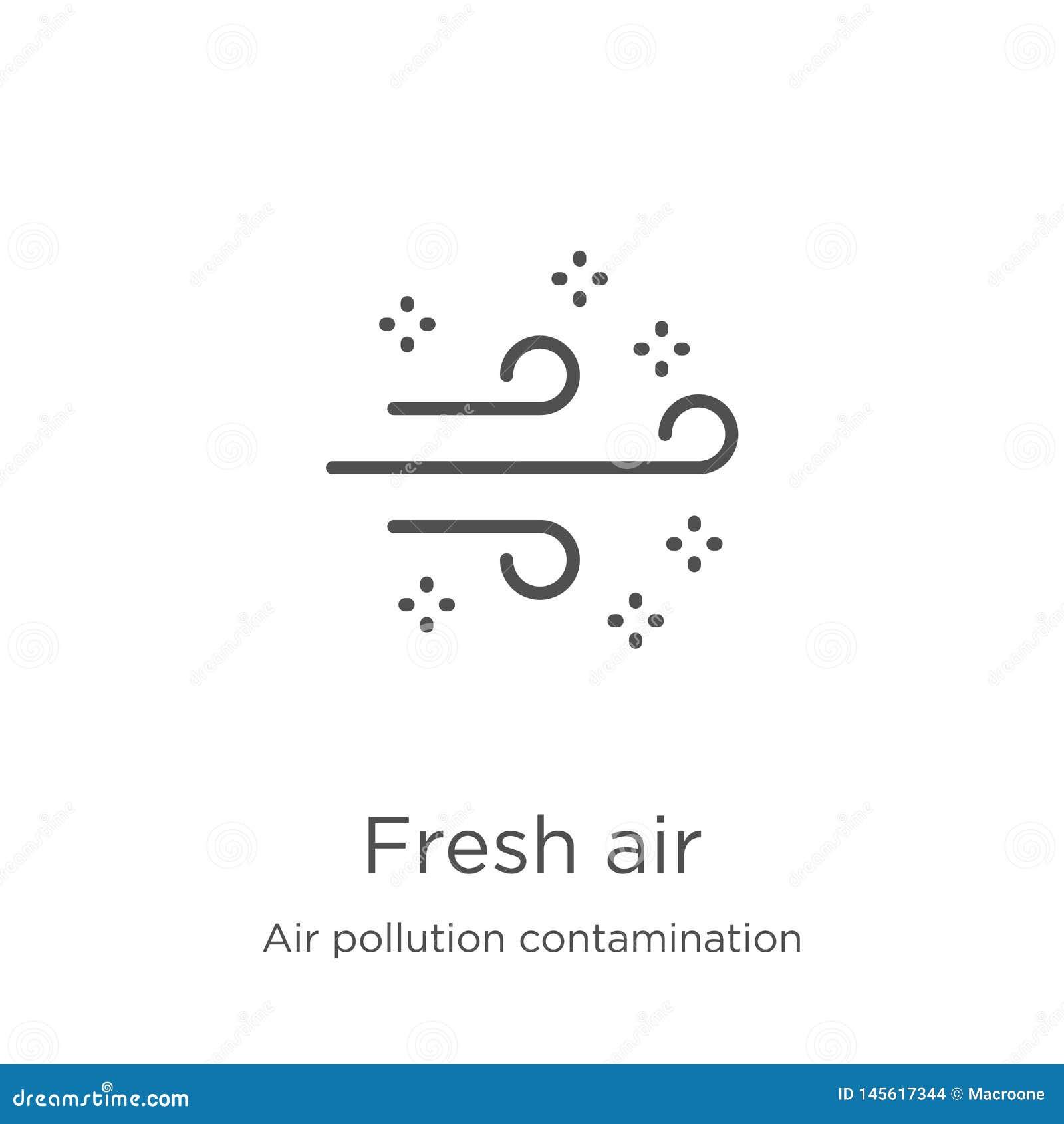 вектор значка свежего воздуха от собрания загрязнения загрязнения воздуха Тонкая линия иллюстрация вектора значка плана свежего в