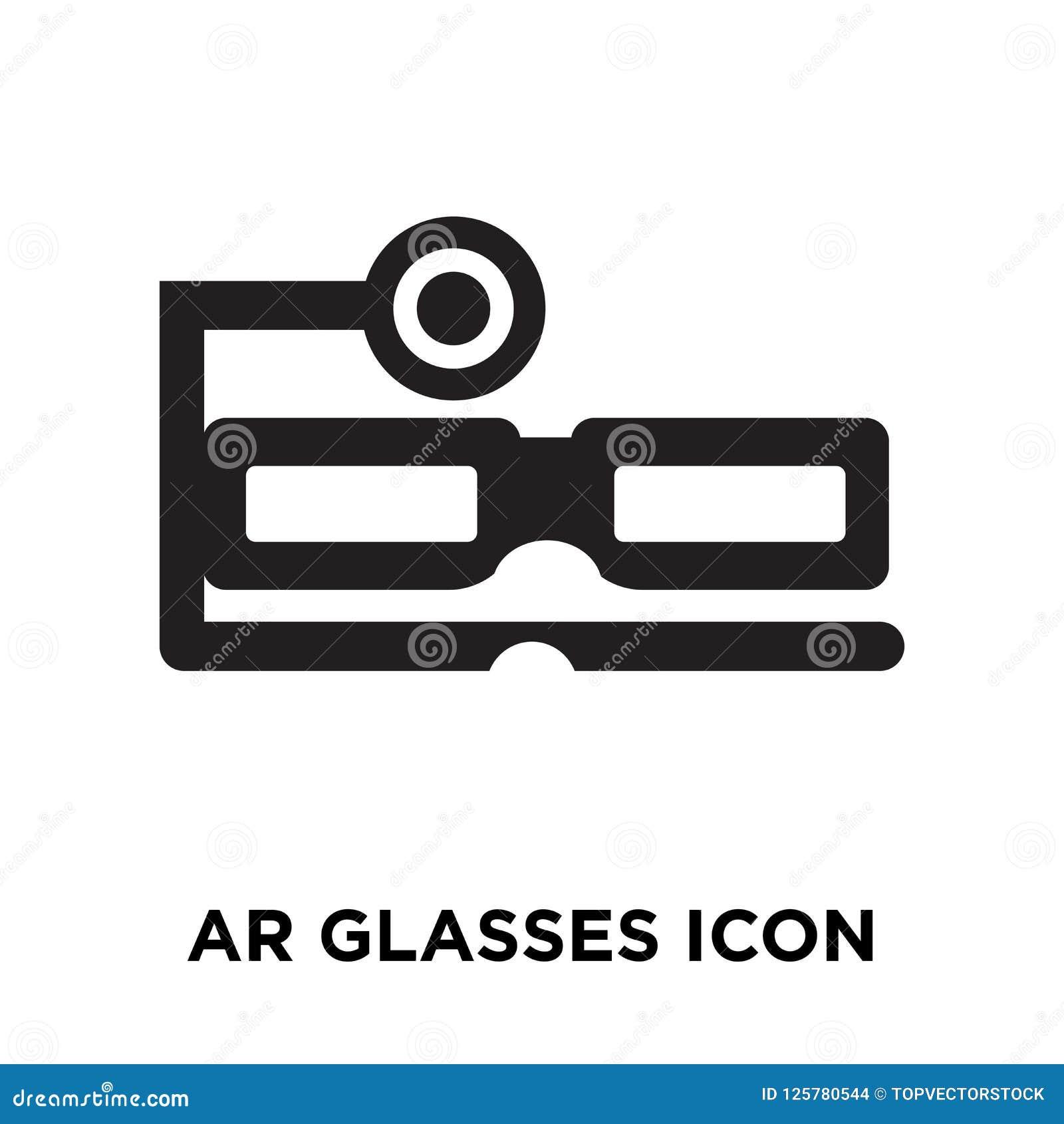 Вектор значка стекел Ar изолированный на белой предпосылке, concep логотипа
