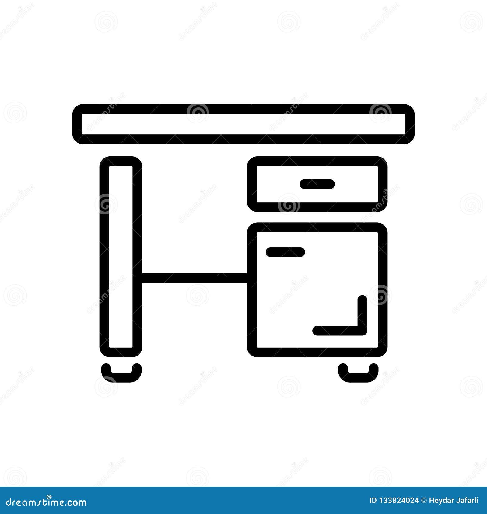 Вектор значка стола изолированный на белой предпосылке, знаке стола, linea