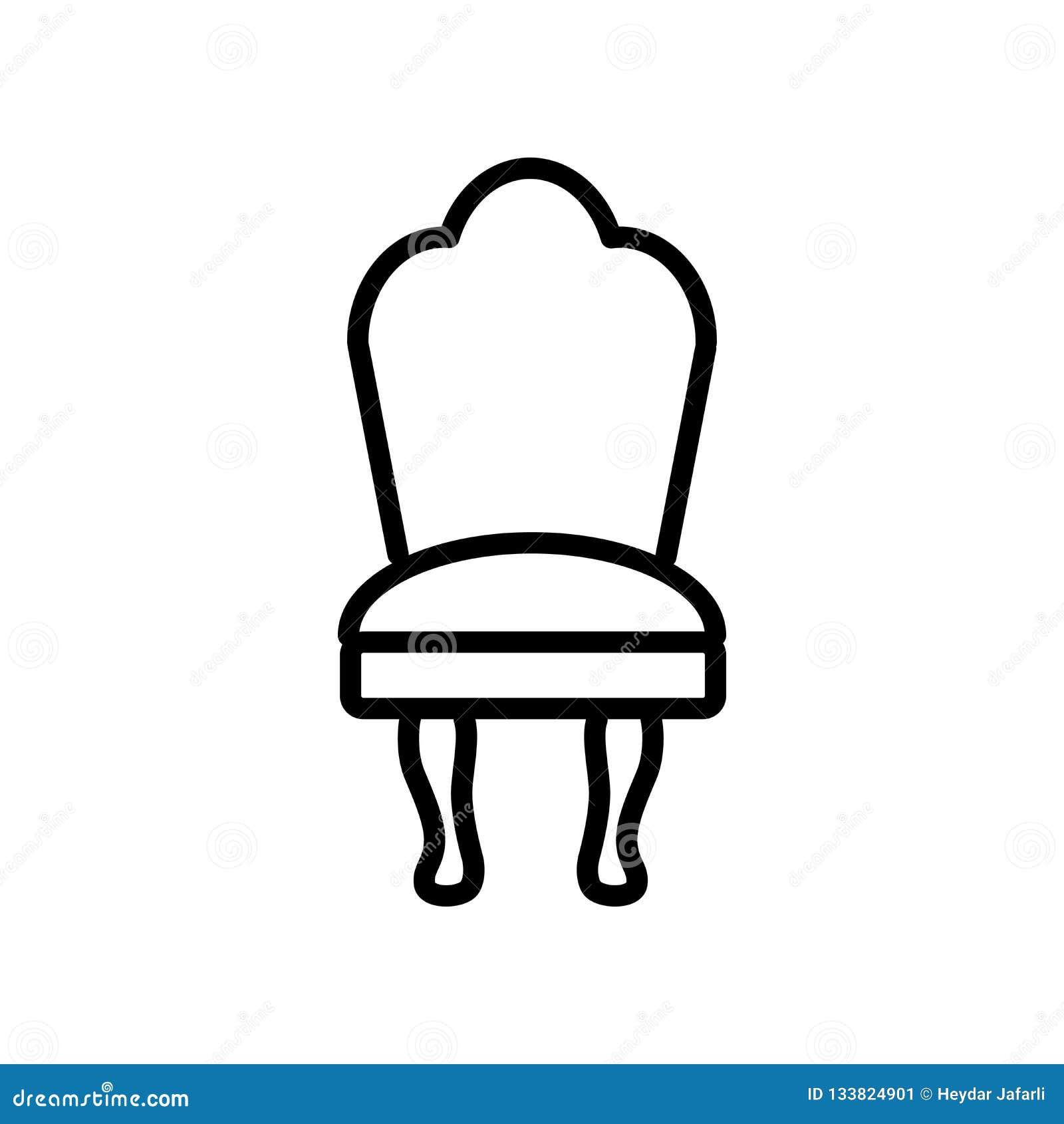 Вектор значка стула изолированный на белой предпосылке, знаке стула, lin