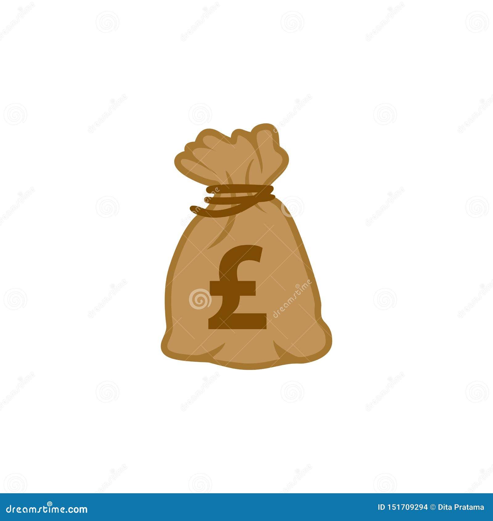 Вектор значка сумки денег фунта стерлингов валюты мира верхнего