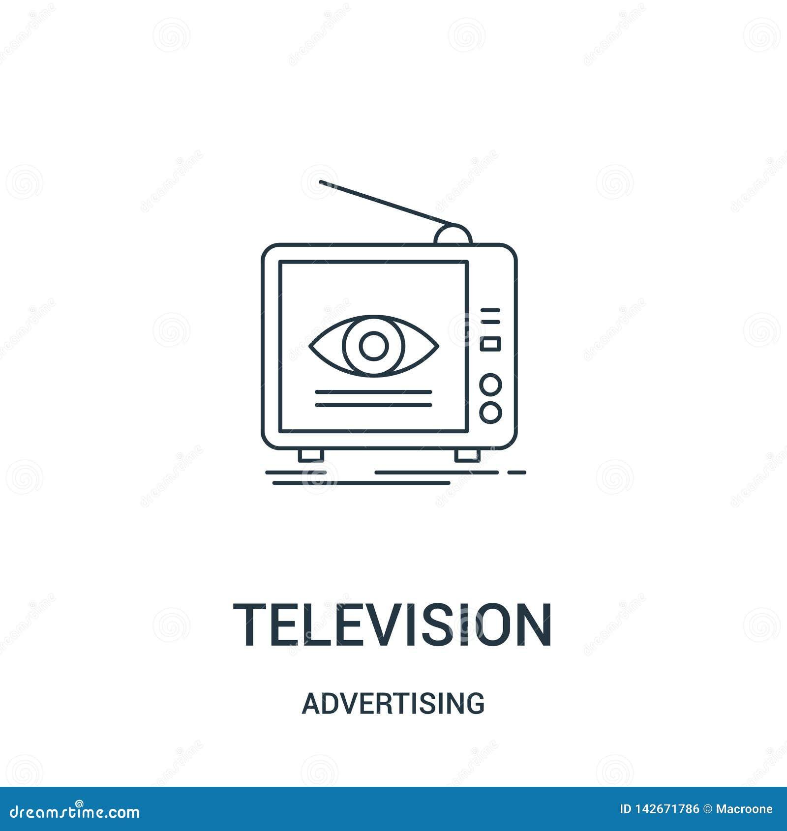 вектор значка телевидения от рекламировать собрание Тонкая линия иллюстрация вектора значка плана телевидения Линейный символ для