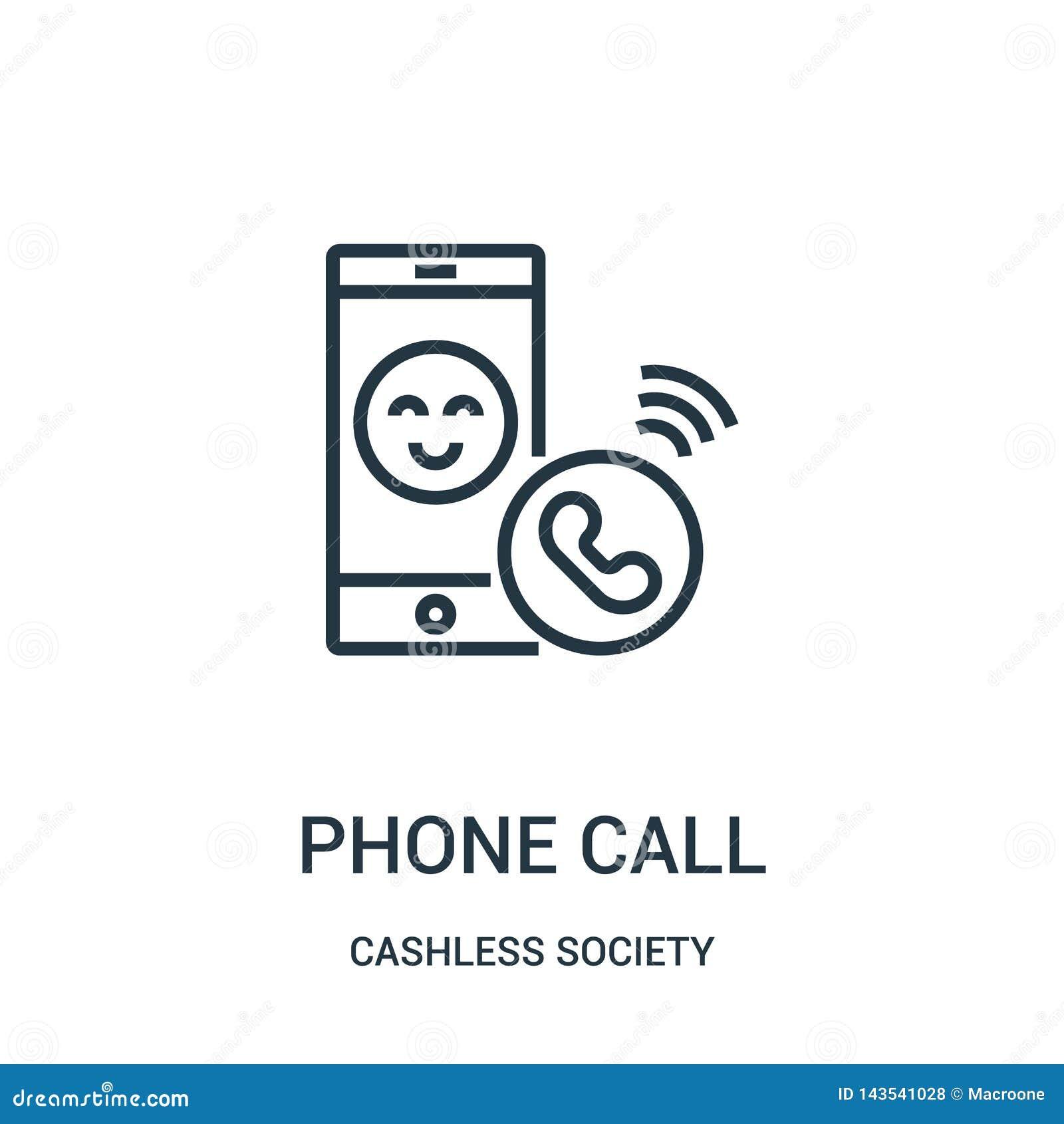 вектор значка телефонного звонка от собрания общества без наличных денег Тонкая линия иллюстрация вектора значка плана телефонног
