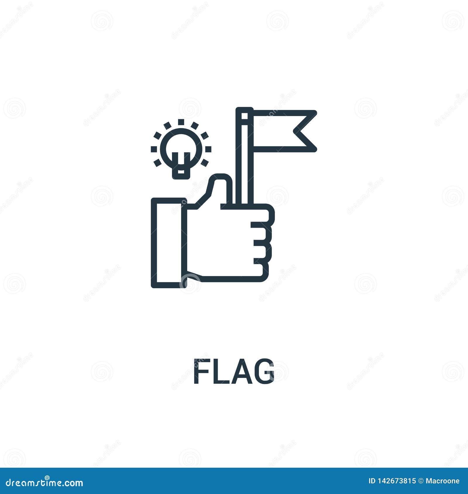 вектор значка флага от собрания seo Тонкая линия иллюстрация вектора значка плана флага Линейный символ для пользы на сети и черн