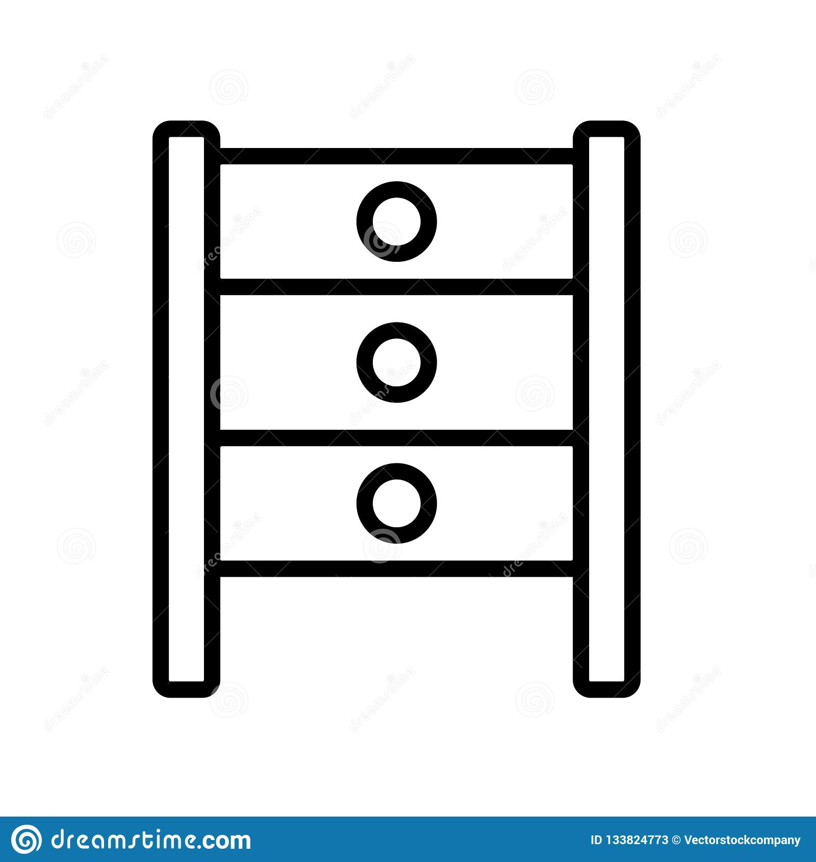 Вектор значка шкафа изолированный на белой предпосылке, кладет знак на полку, linea