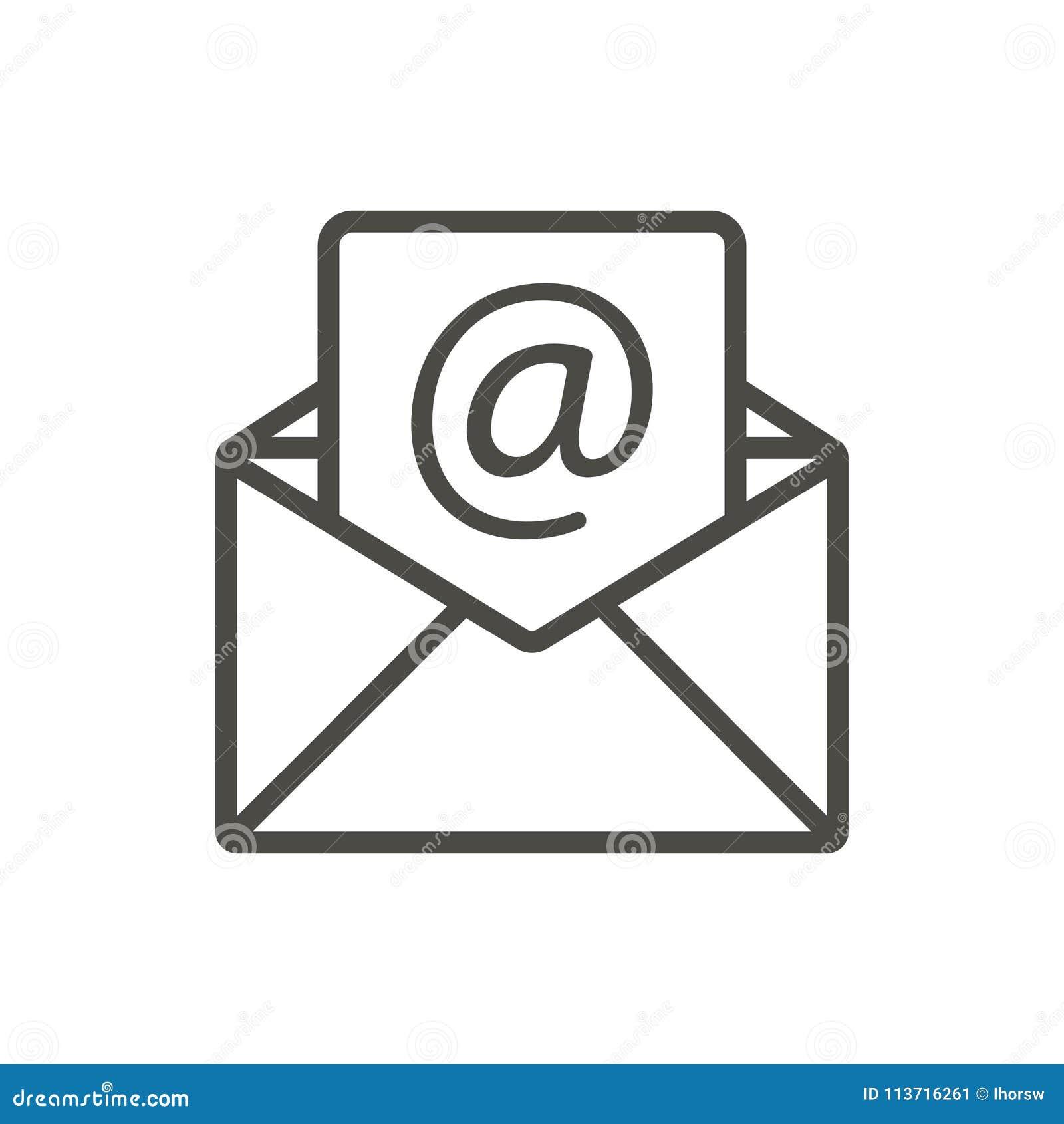 Вектор значка электронного письма Линия открытый символ почты