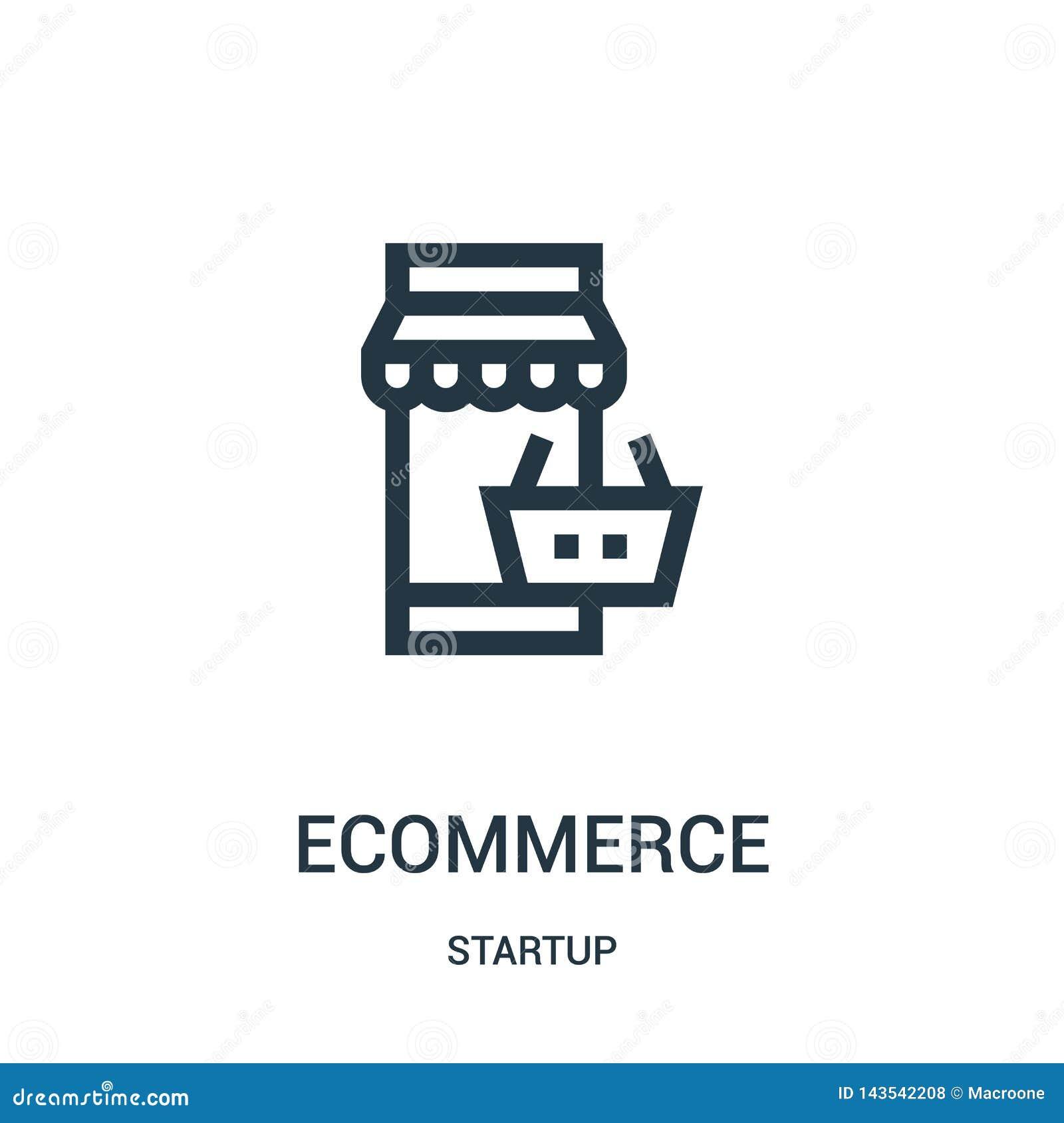 вектор значка ecommerce от собрания запуска Тонкая линия иллюстрация вектора значка плана ecommerce