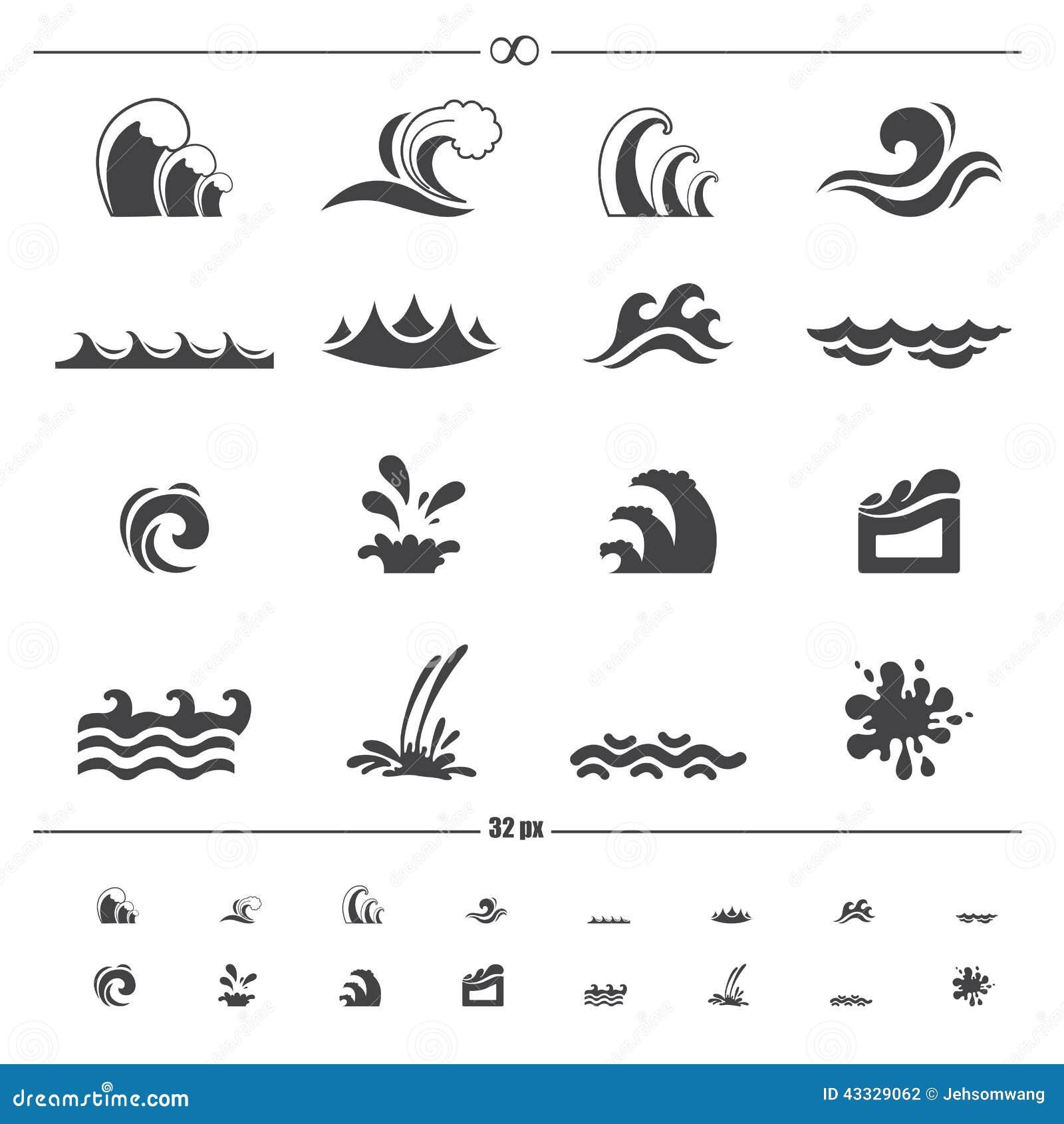 Вектор значков волны воды