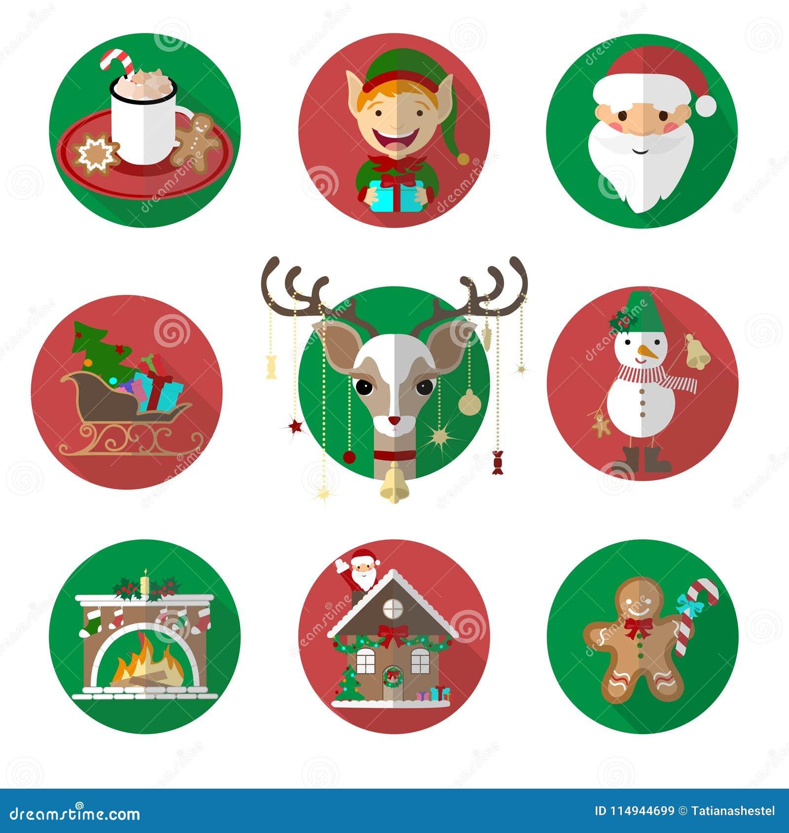 Вектор значков рождества отображает смешной комплект Плоские иллюстрации