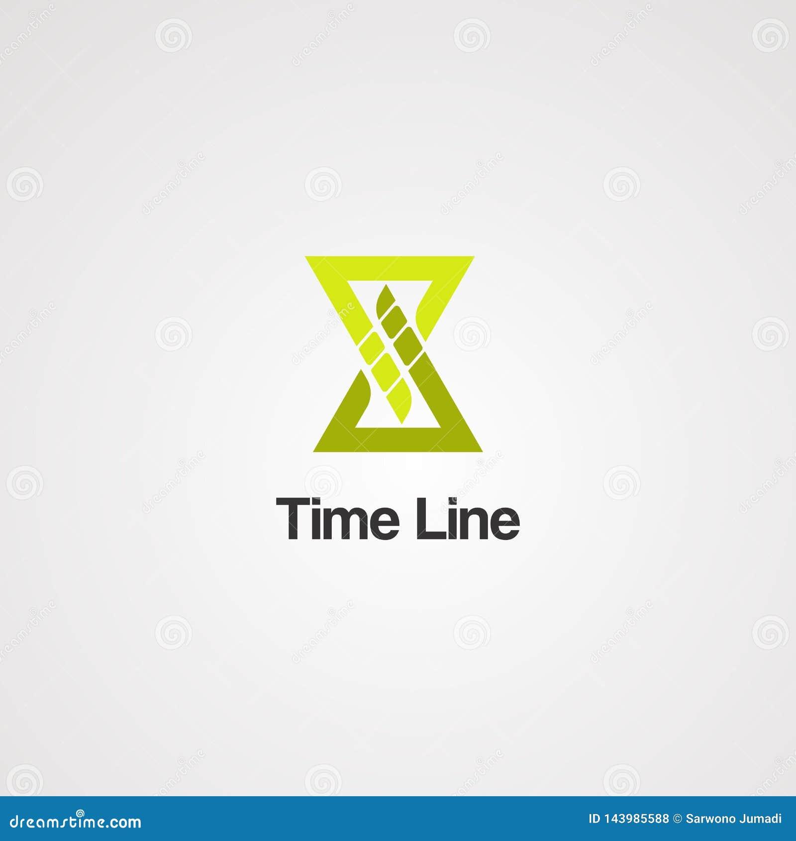 Вектор, значок, элемент, и шаблон логотипа границы временной рамки для дела
