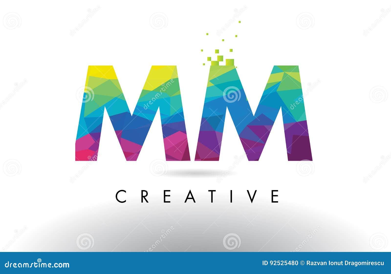 Вектор дизайна треугольников Origami письма MM m m красочный