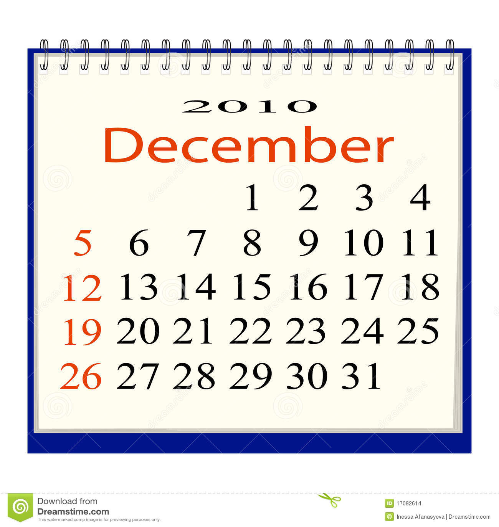 вектор изображения в декабре календара