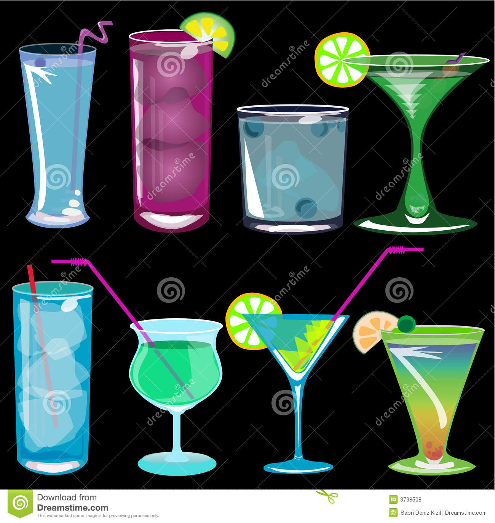 вектор иллюстрации коктеилов