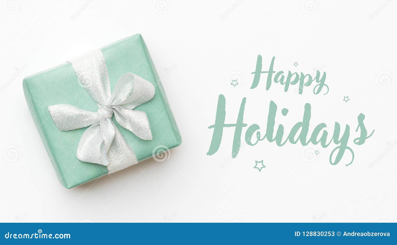 вектор иллюстрации рождества eps10 знамени Красивый подарок рождества изолированный на белой предпосылке Покрашенная бирюзой обер